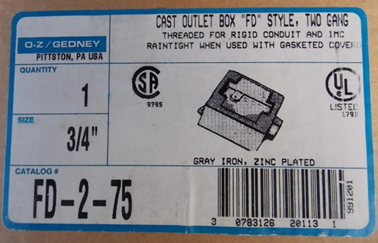 "O-Z Gedney FD-2-75 3/4"" Cast Outlet Box ""FD"" Style 2 Gang - New"