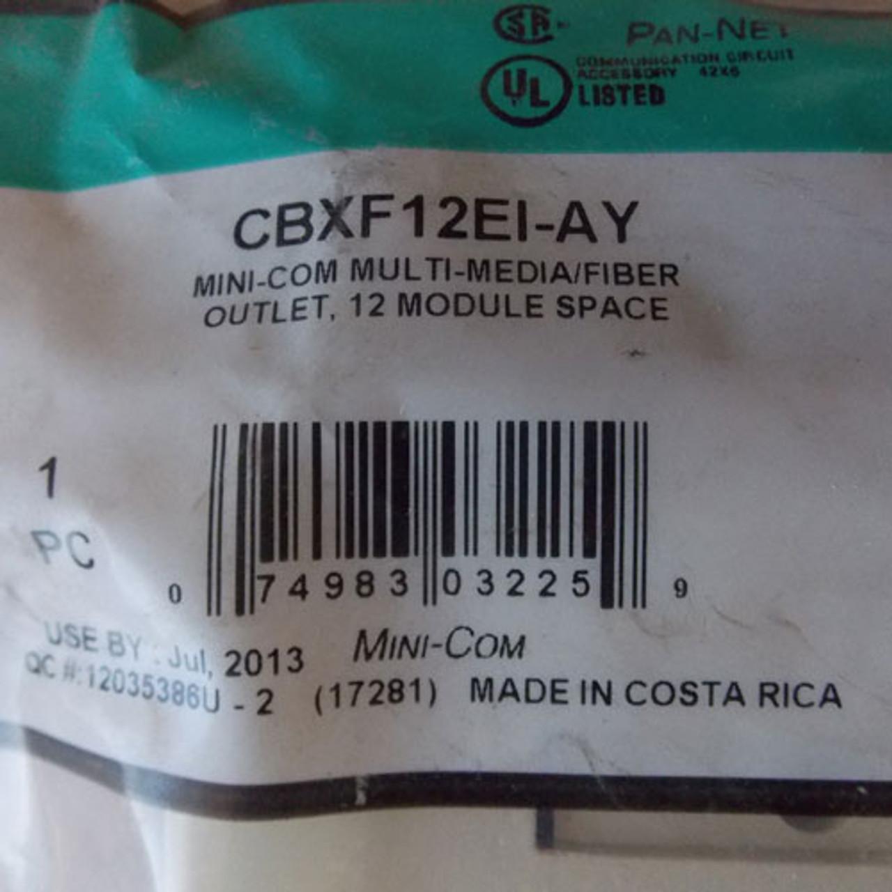 Panduit CBXF12EI-AY Mini-Com Multi-Media/Fiber Outlet, 12 Module Space - New
