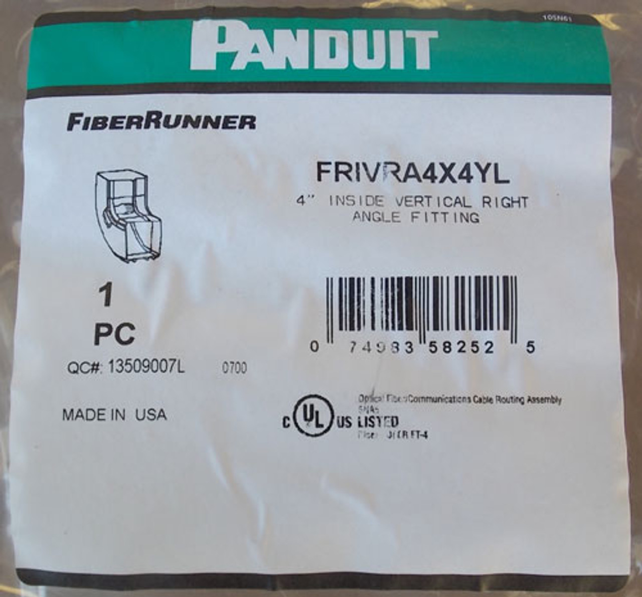 Panduit FRIVRA4X4YL FiberRunner Fitting 4x4 Inside Vert Right Angle - New