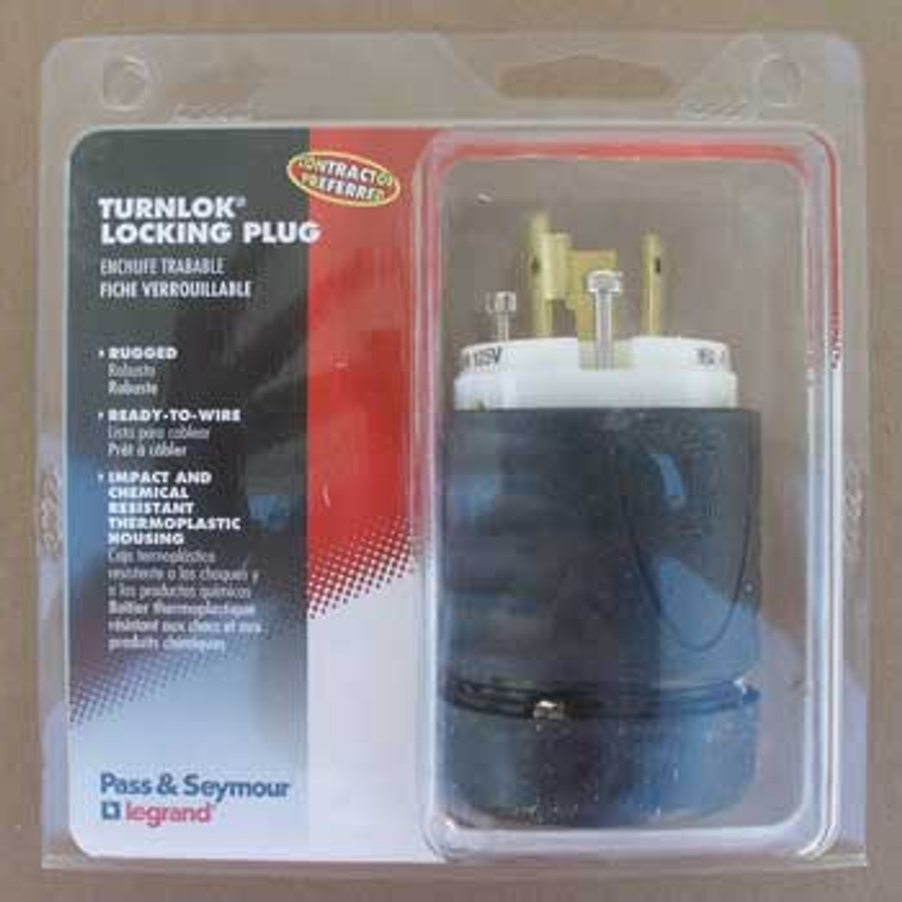 Pass & Seymour L520-PCCV3 20 Amp 125 VAC Turnlok Plug