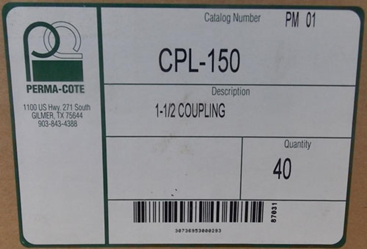 "Perma-Cote CPL-150 1-1/2"" GRC Coupling Supreme PVC Coated (Lot of 40)"