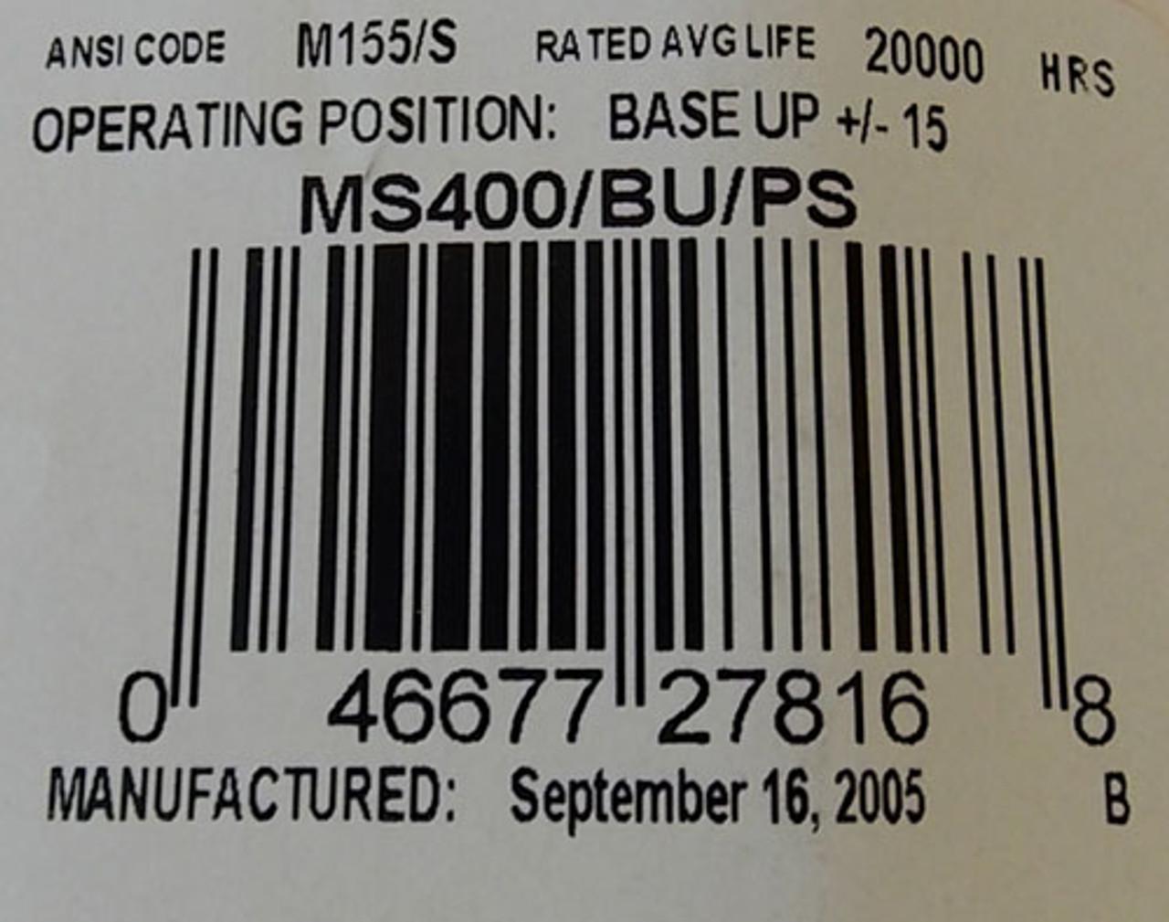 Philips MS400/BU/PS 400W Clear M155/S Metal Halide Light Bulb