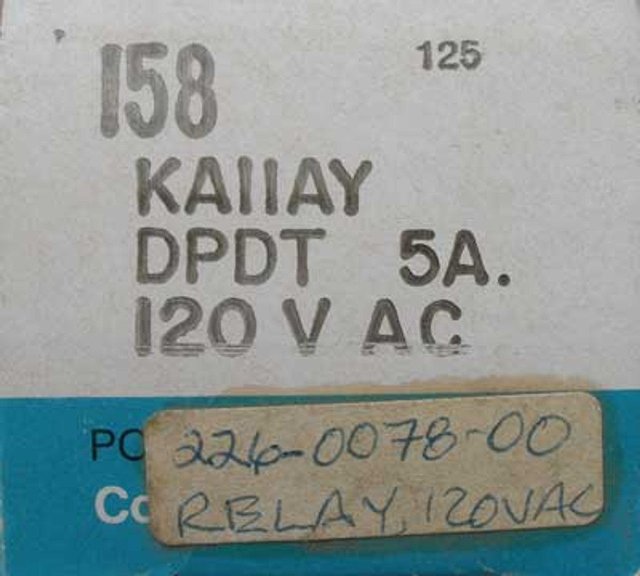 Potter & Brumfield KAIIAY 5 Amp 120 VAC Relay - New