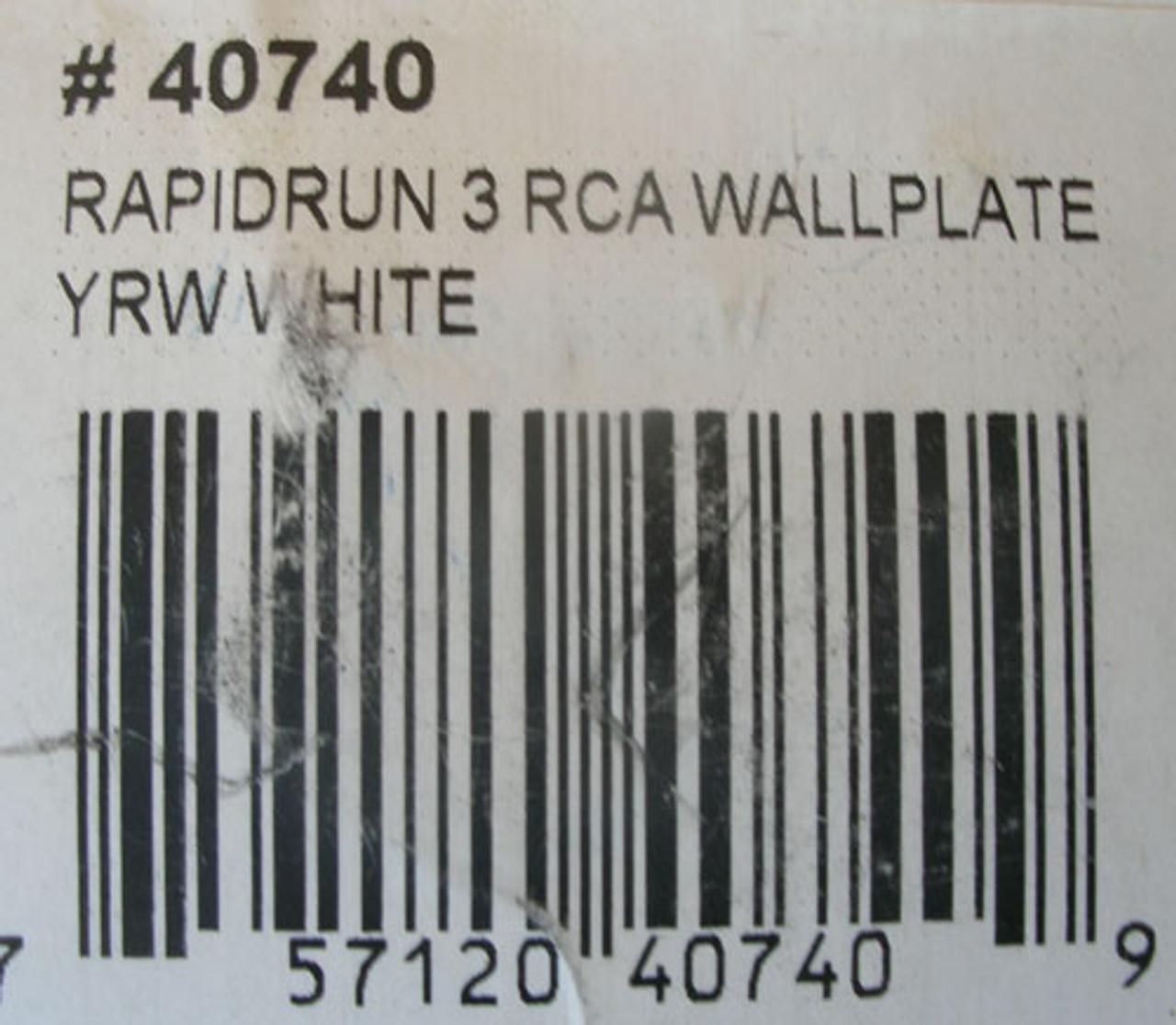 RapidRun 40740 3 RCA Composite Video+Stereo Audio Wall Plate, White - New