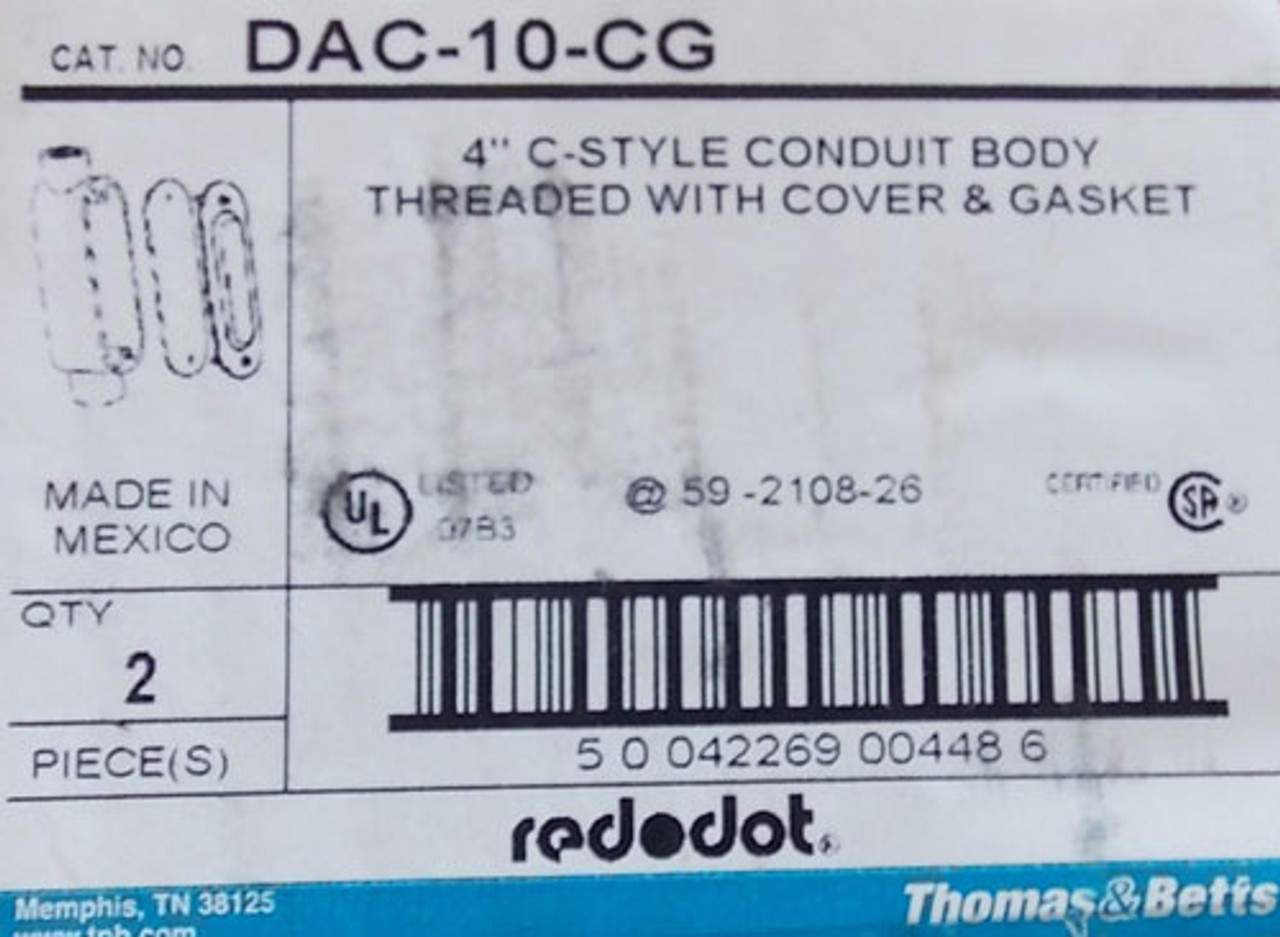 """Red Dot DAC-10-CG 4"""" C-Style Conduit Body Threaded Cover-Gasket (Lot of 2)"""