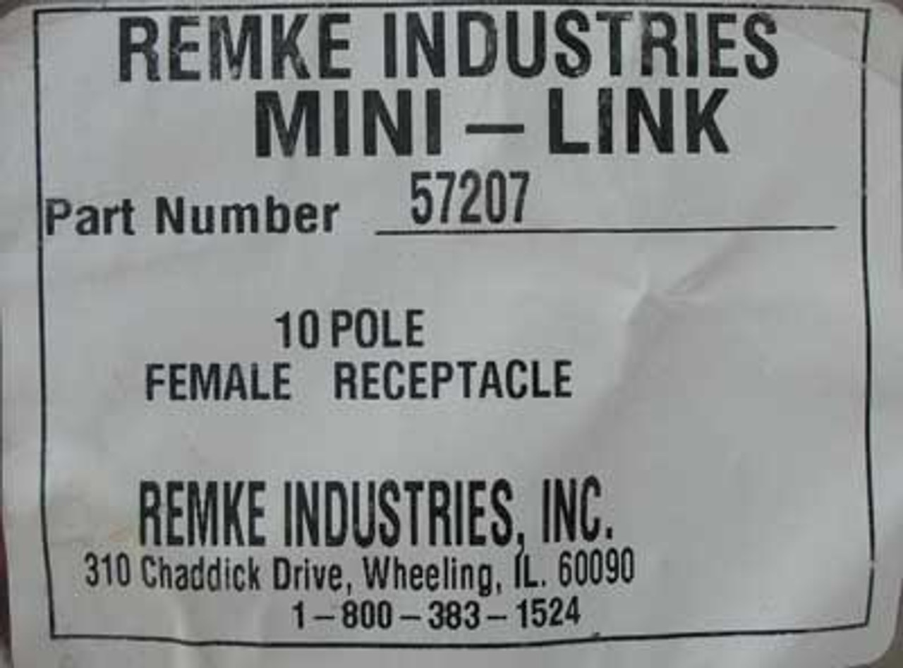 "Remke 57207 Rubber Mini-Link Receptacle 10 Pole with 12"" Pigtail Lead"