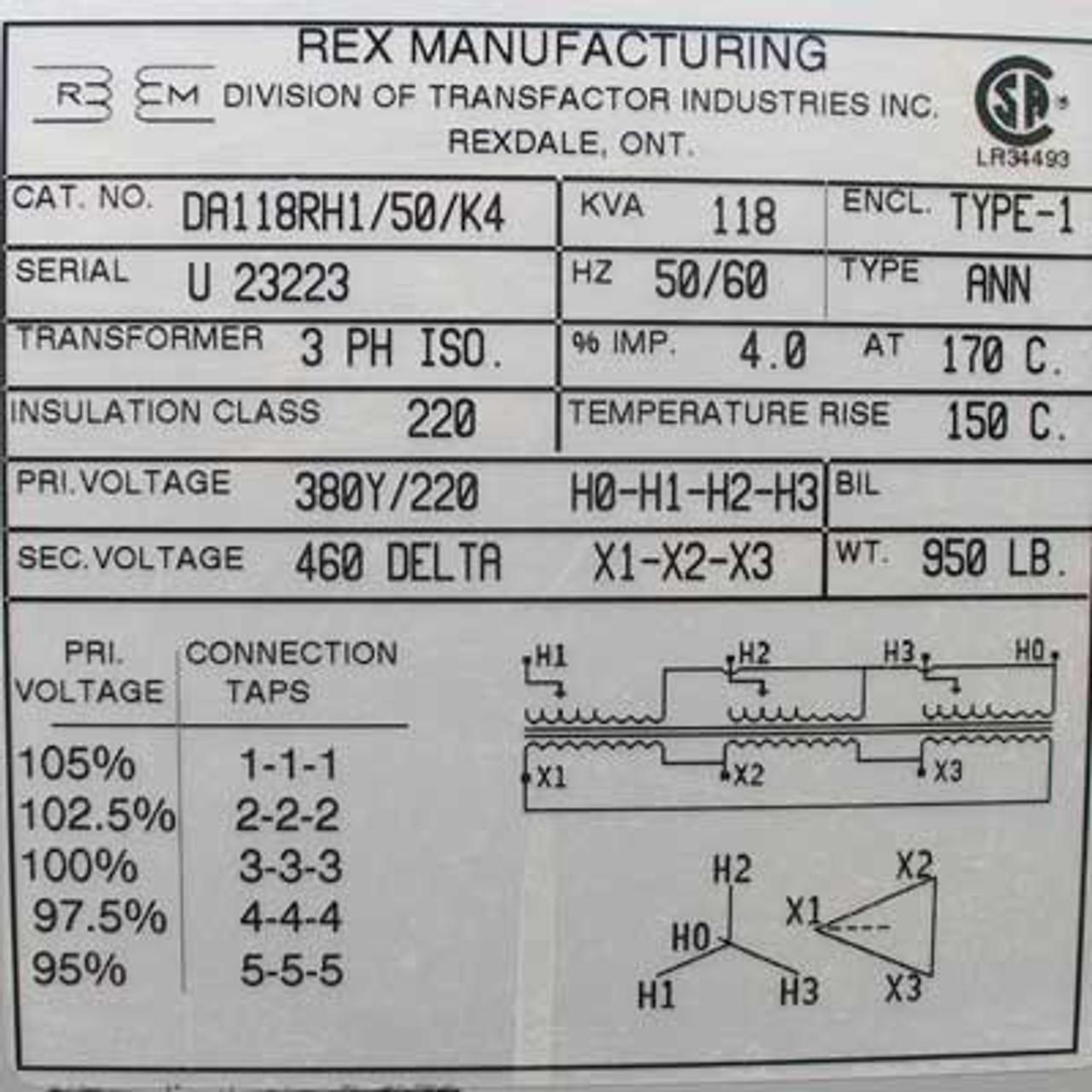 Rex Mfg DA118RH1/50/K4 118 KVA 380Y/220 to 460 Volts 3 PH Transformer - New