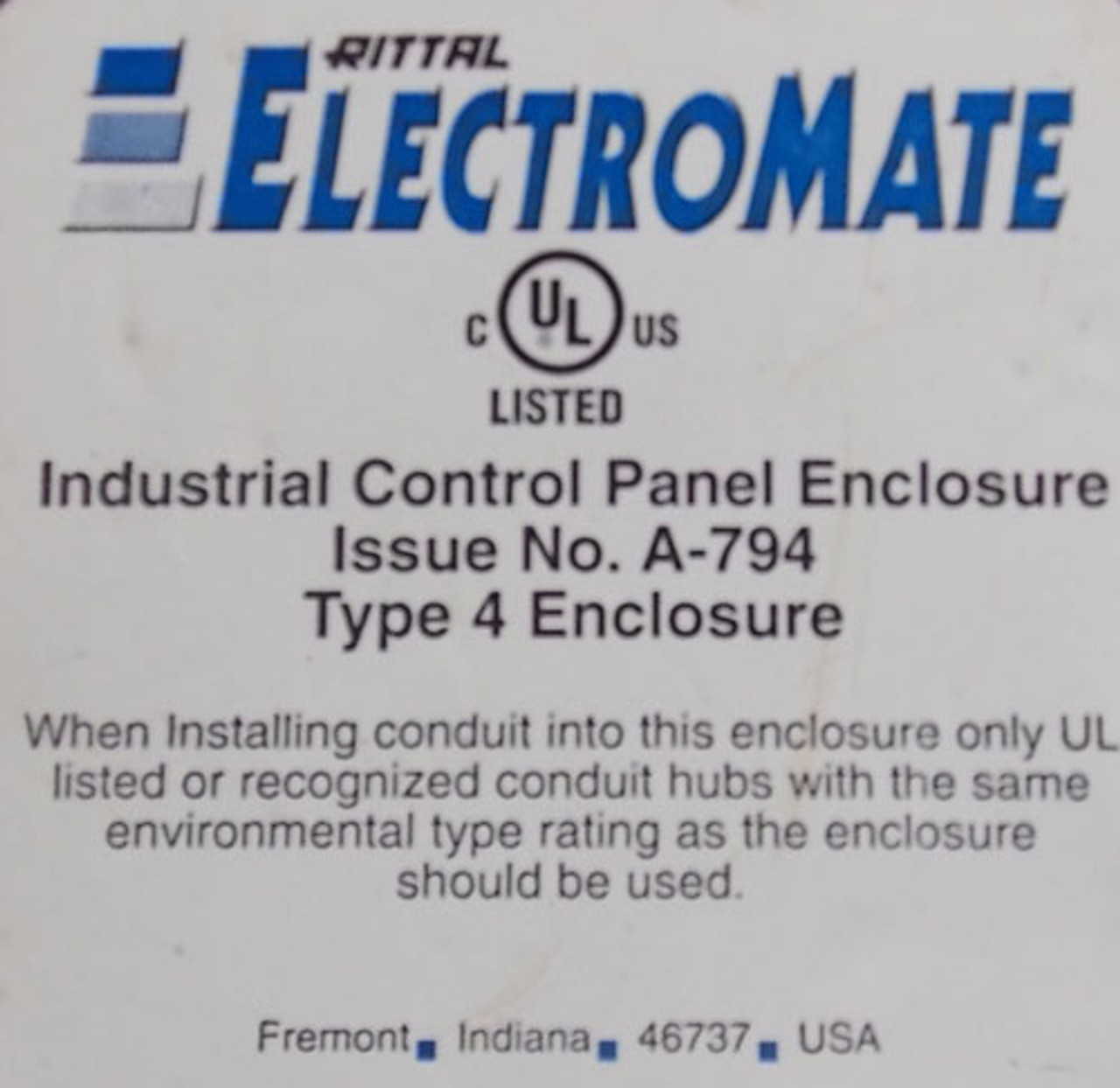 """Rittal ElectroMate A-794 16""""x16""""x8"""" SS Industrial Control Panel Enclosure Type 4 - New"""