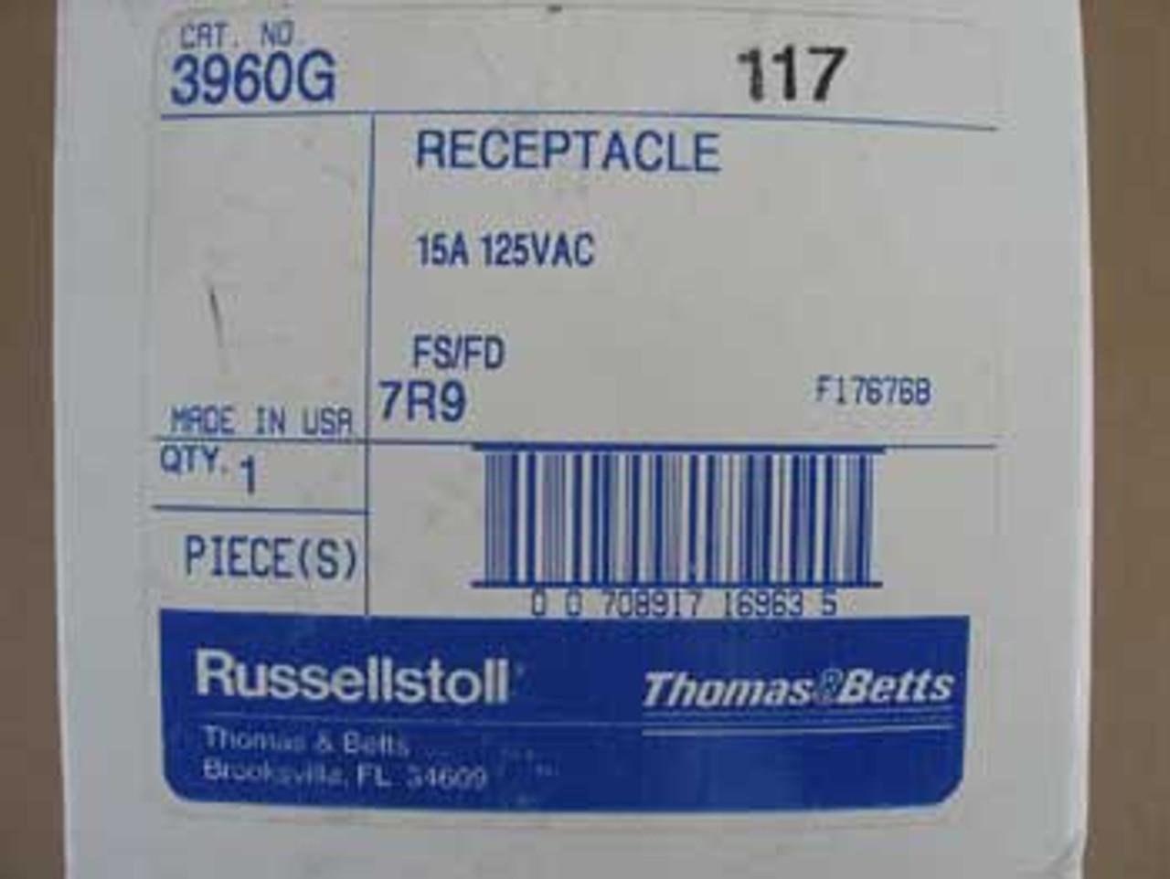 Russellstoll 3960G 15A 125VAC Cast Aluminum Duplex Receptacle - New