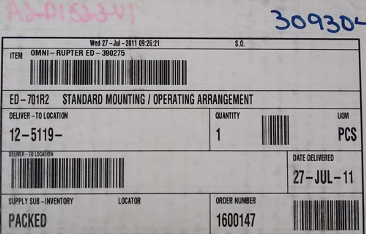S&C Omni Rupter Switch Type ED-701R2 Standard Mounting/Operating Arrangement