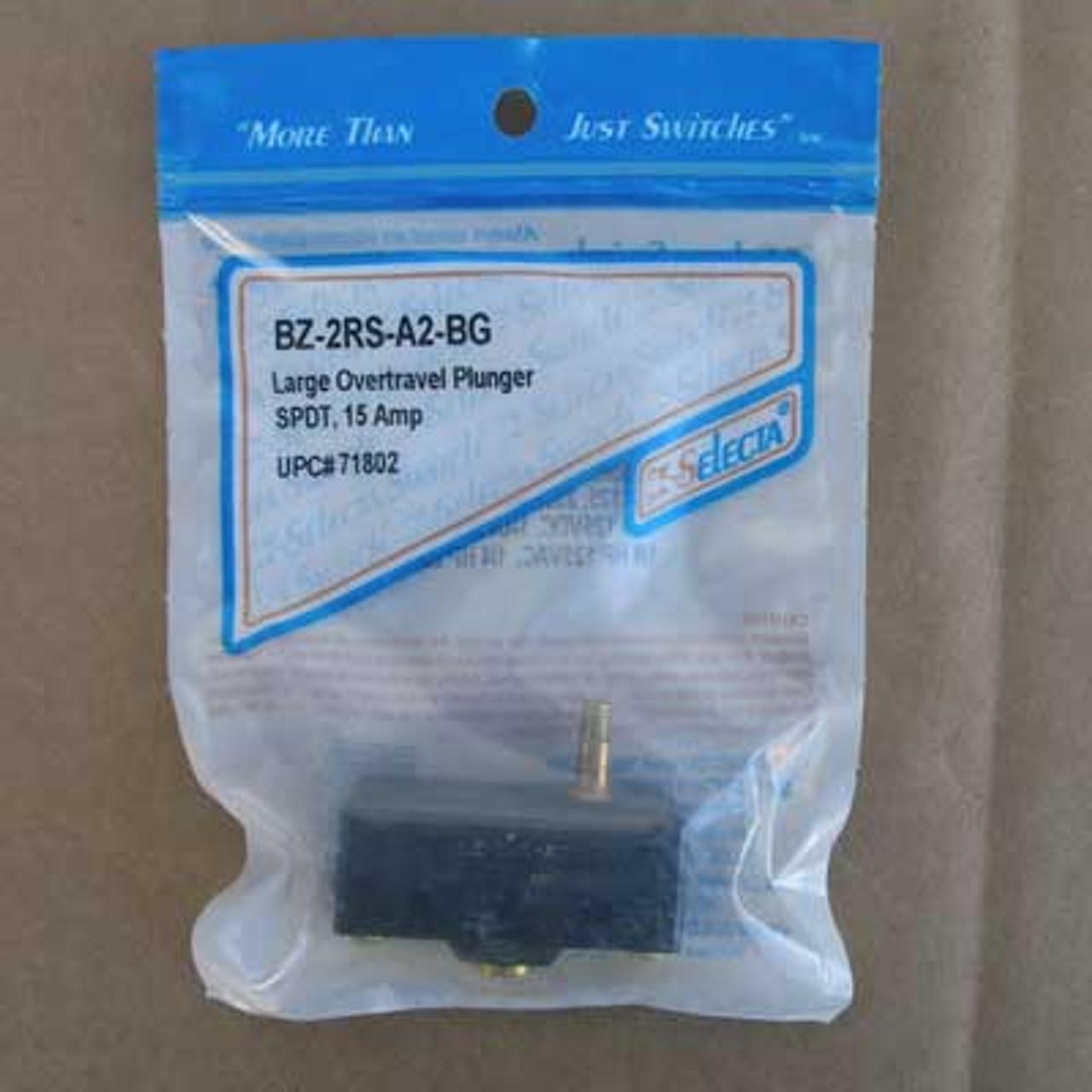 Selecta BZ-2RS-A2-BG SPDT 15 Amp Large Overtravel Plunger