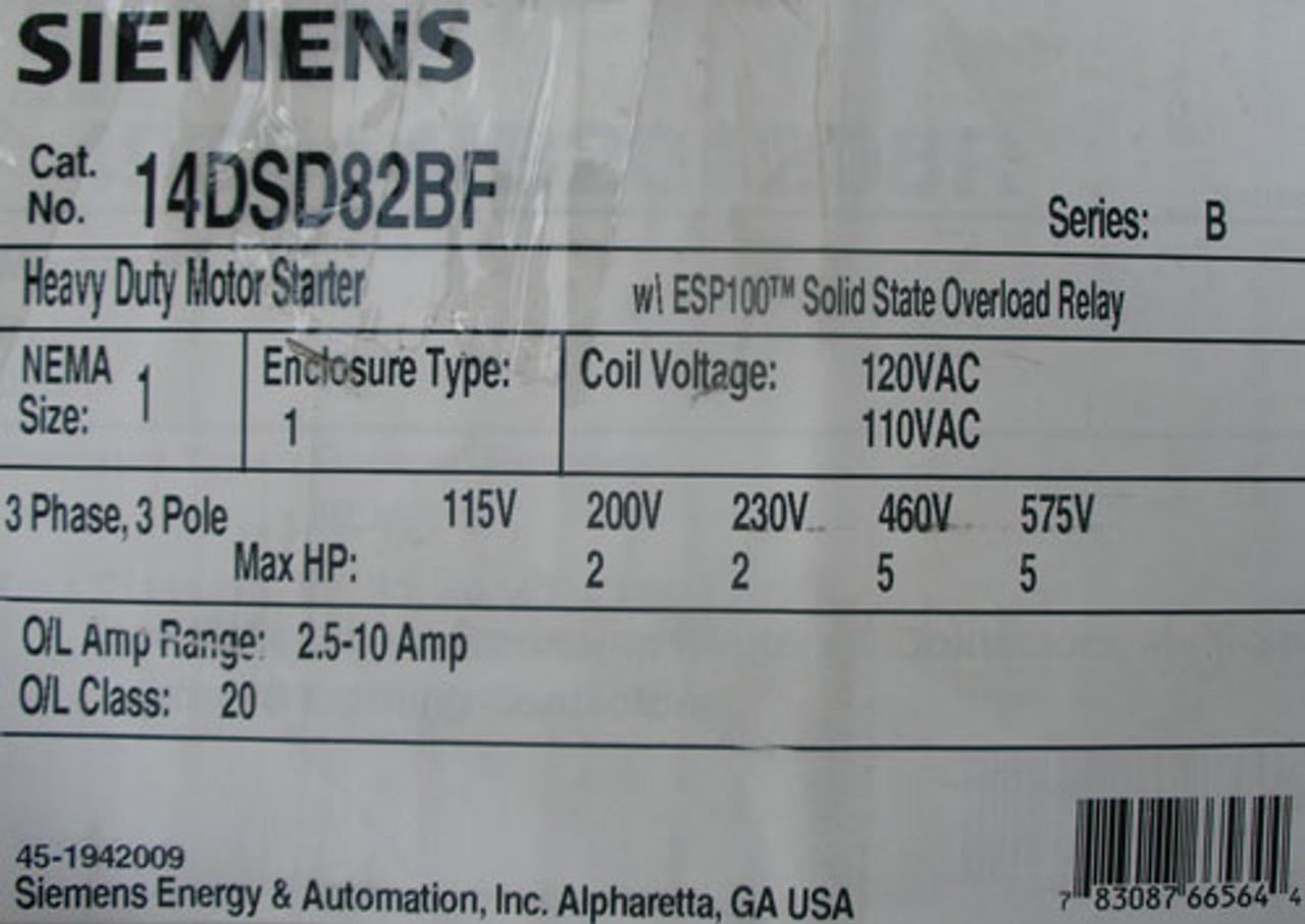 Siemens 14DSD82BF Size 1 HD Motor Starter 3PH 3P 2.5-18A Nema 1