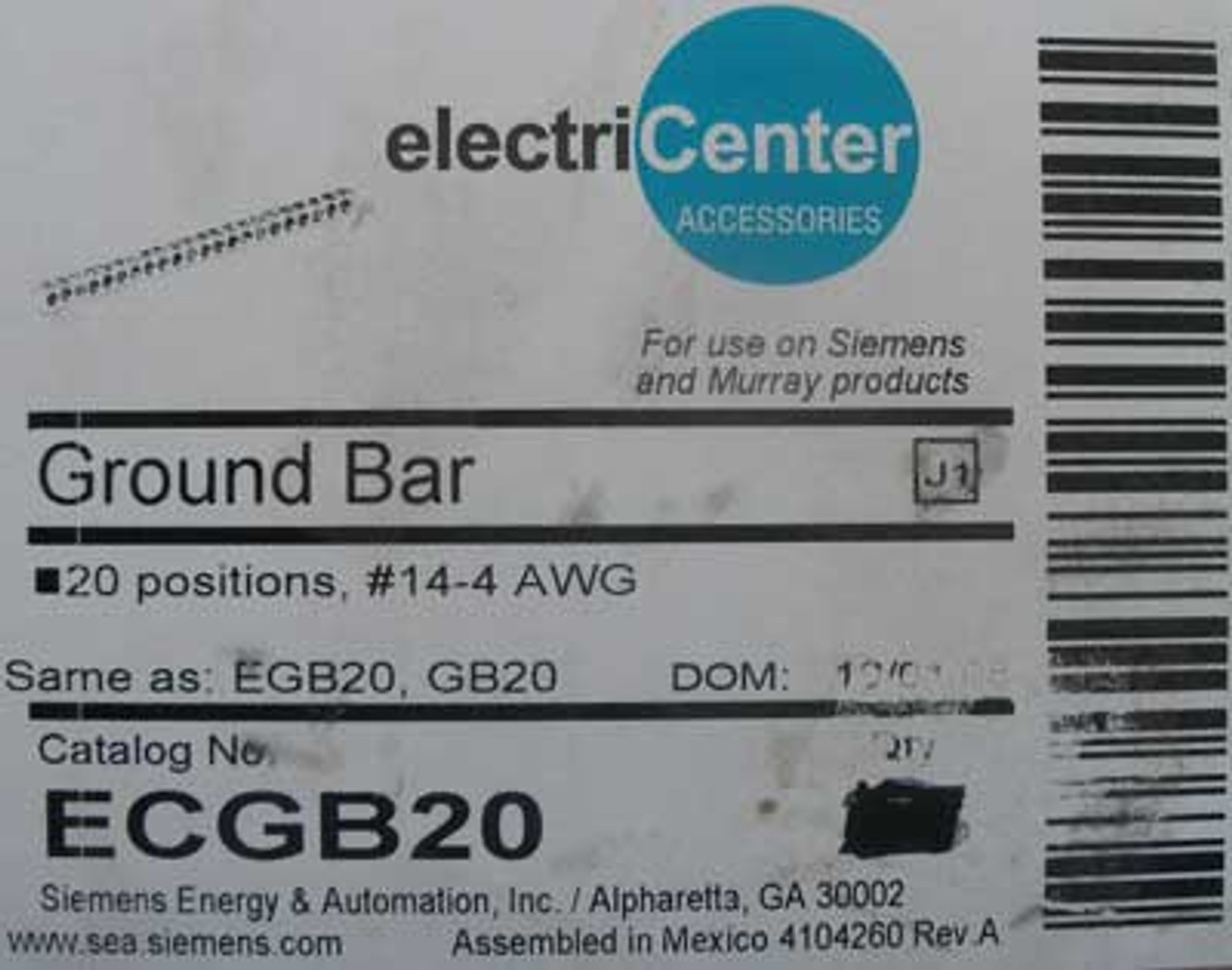 Siemens ElectriCenter ECGB20 Ground Bar Kit 20 Positions #14-4 AWG (Lot of 2)