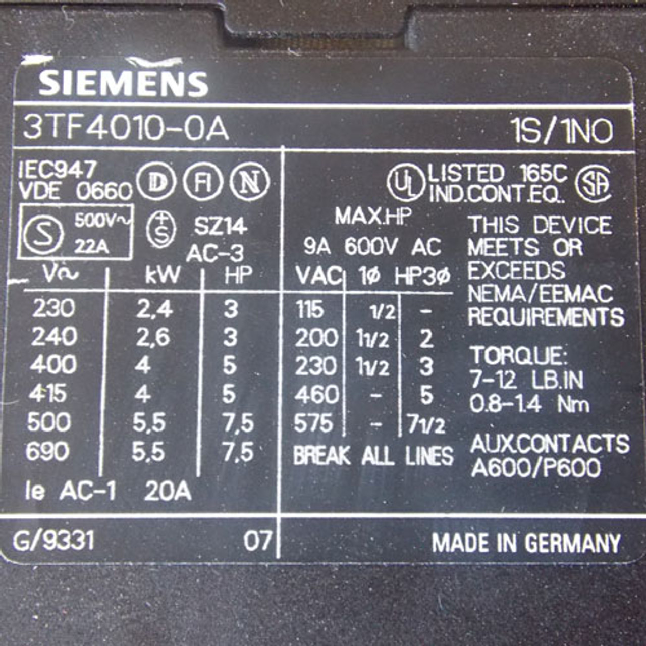 Siemens 3TF40 Magnetic Contactor 4 Pole 9 Amp 208V Coil - Used