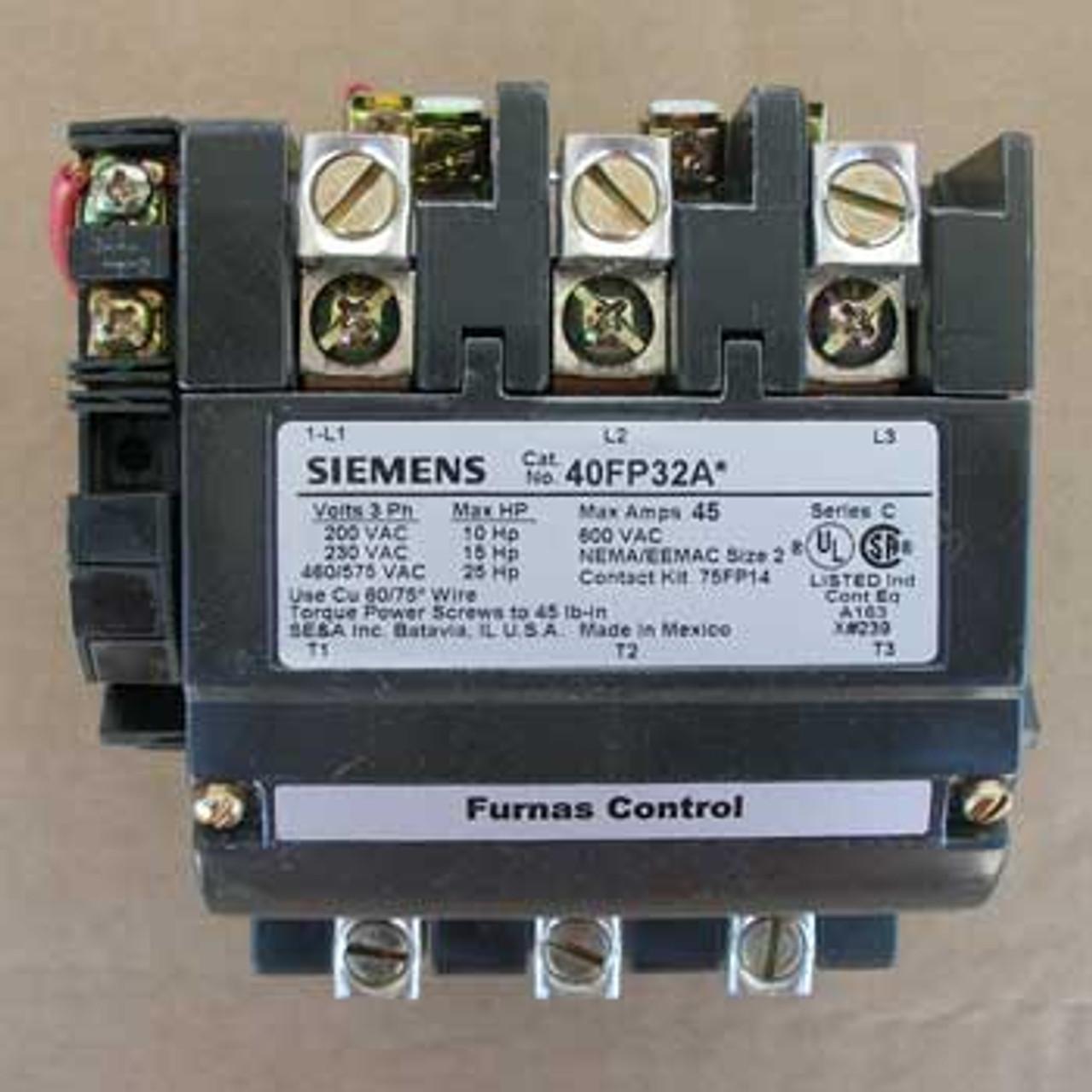 Siemens 40FP32AF 45 Amp 3 Pole 120V Size 2 HD Contactor Open