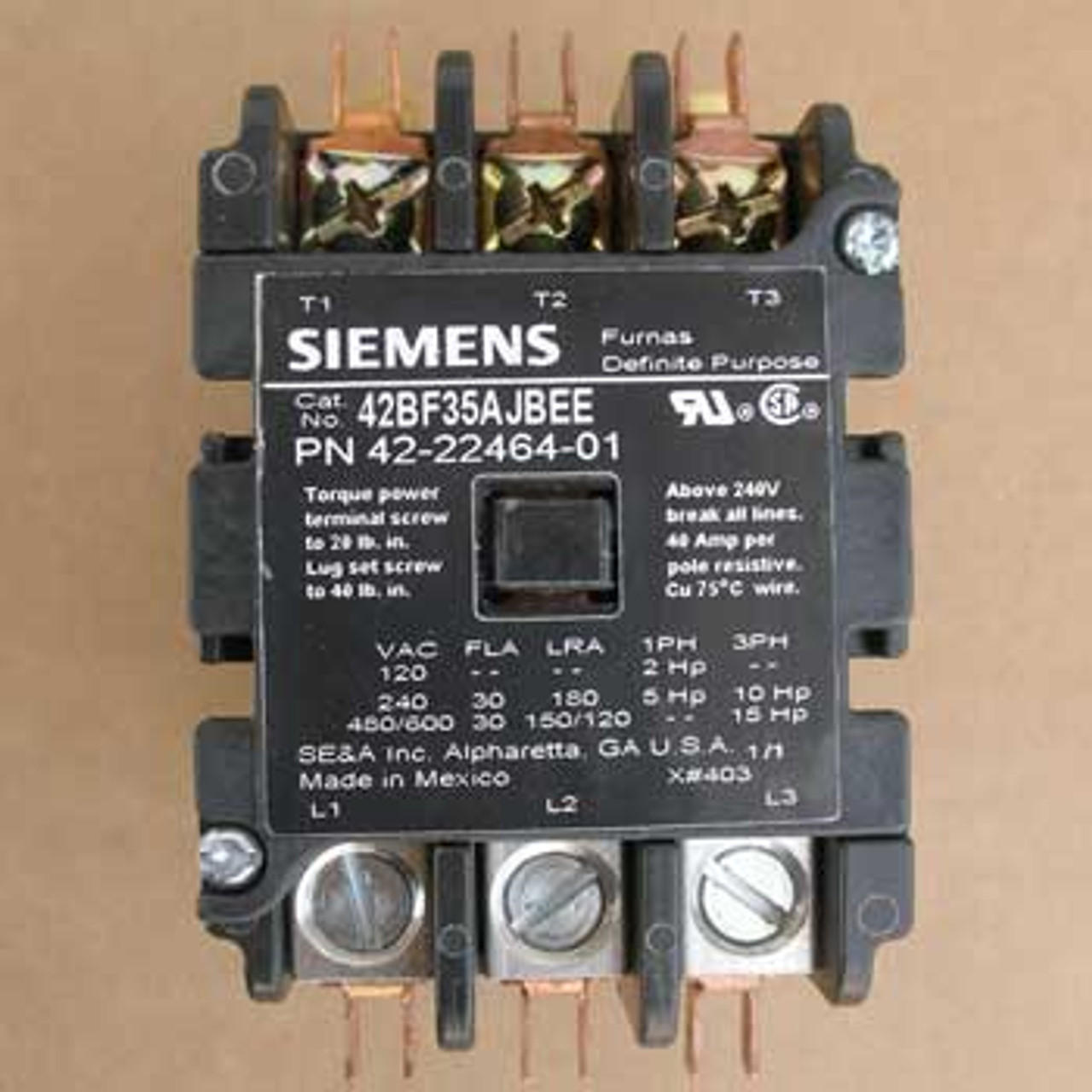 Siemens 42BF35AJBEE Definite Purpose Controller 3P 24VAC 60Hz Coil - New