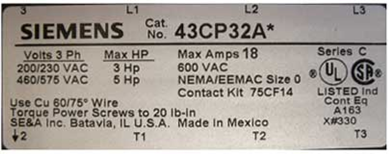Siemens 43CP32AD Size 0 Reversing Contactor 3 PH 208V Open - New