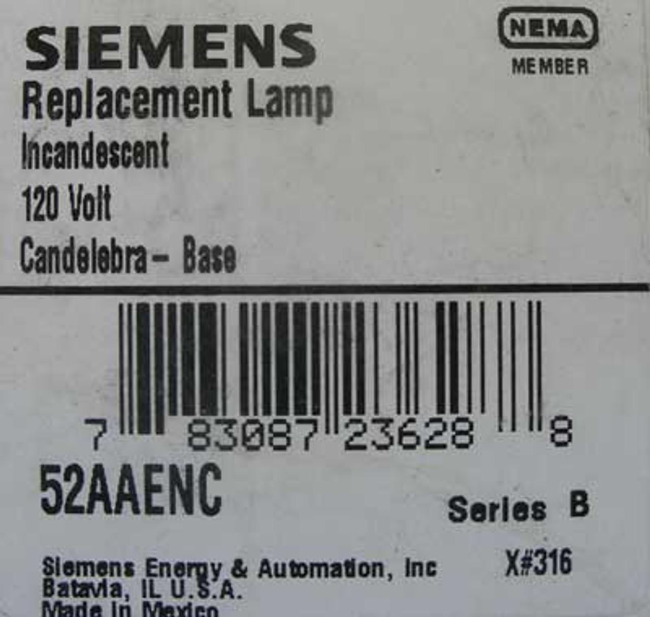 Siemens 52AAENC 120V Incandescent Replacement Lamp