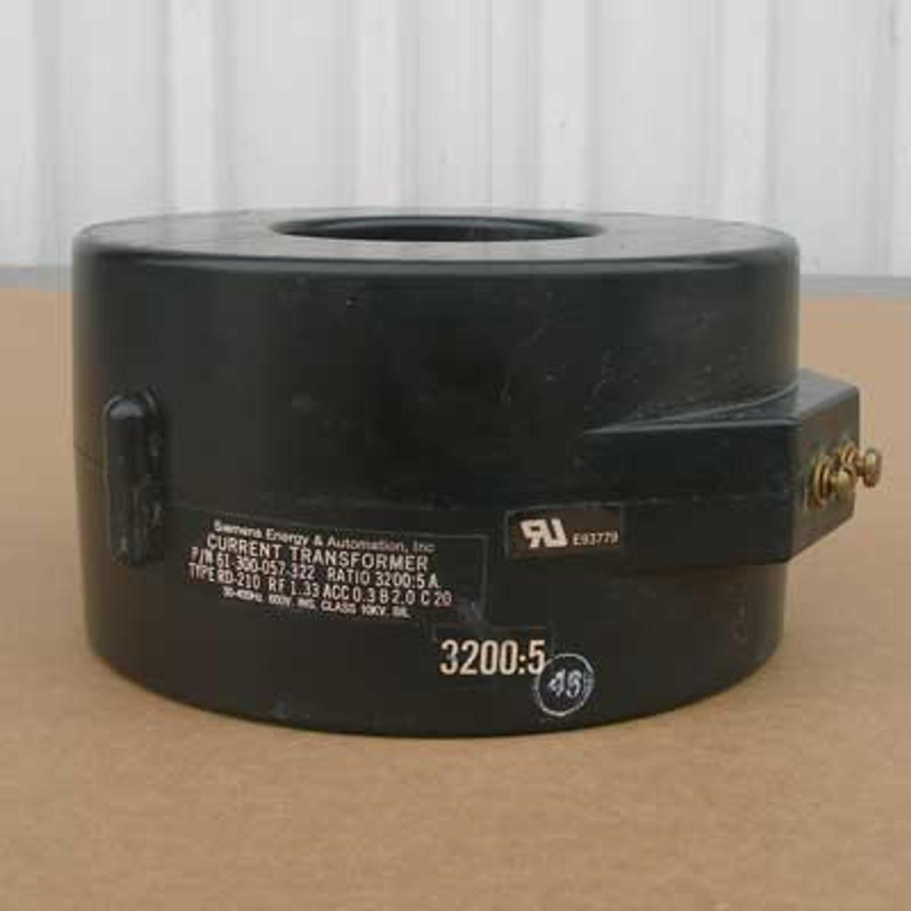 Siemens 61-300-057-322 3200:5A 50-400Hz Current Transformer - Used