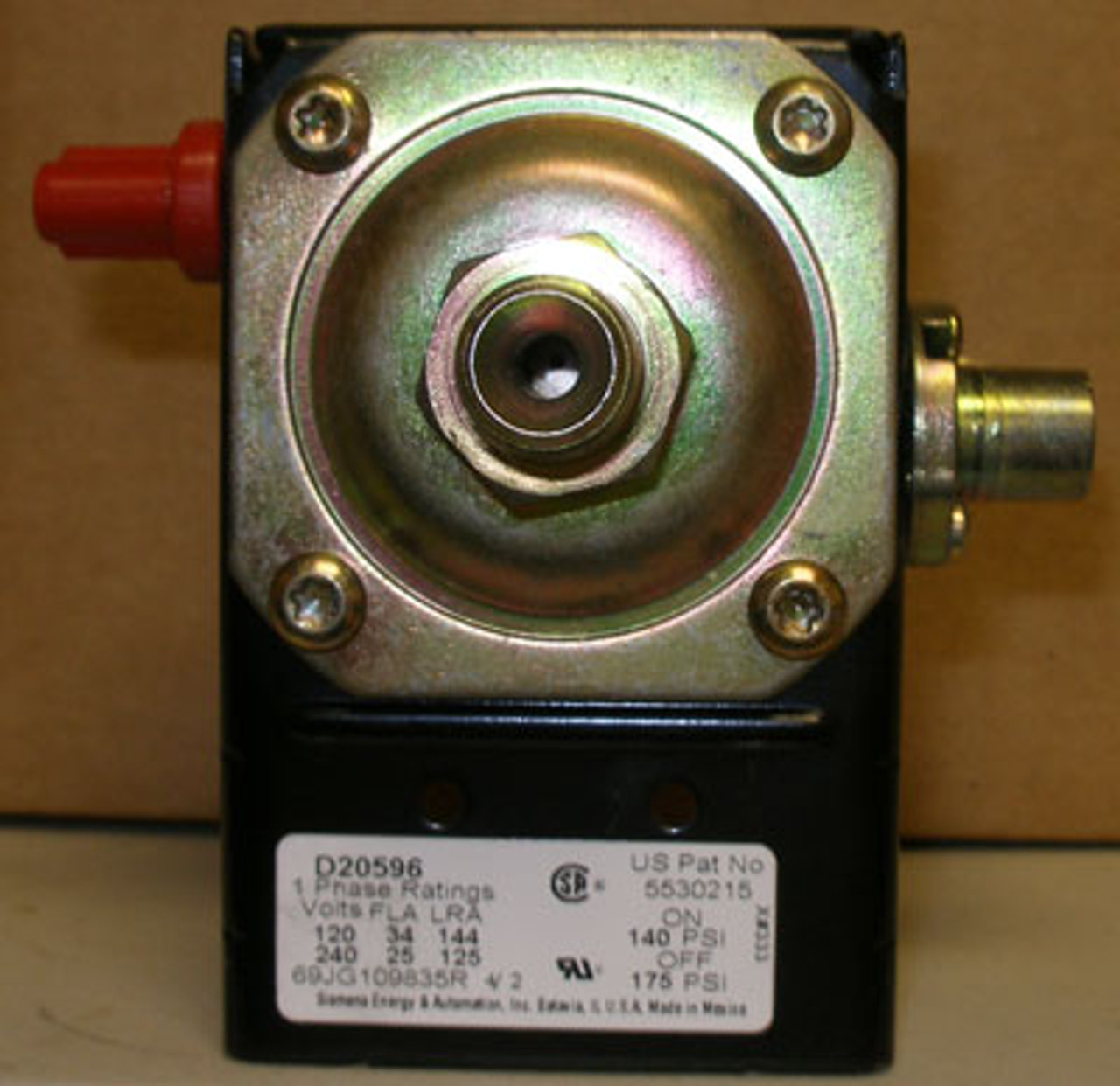Siemens D20596 1 Ph Pressure Switch (140 PSI)(120-V) - COVER NOT INCL. - New