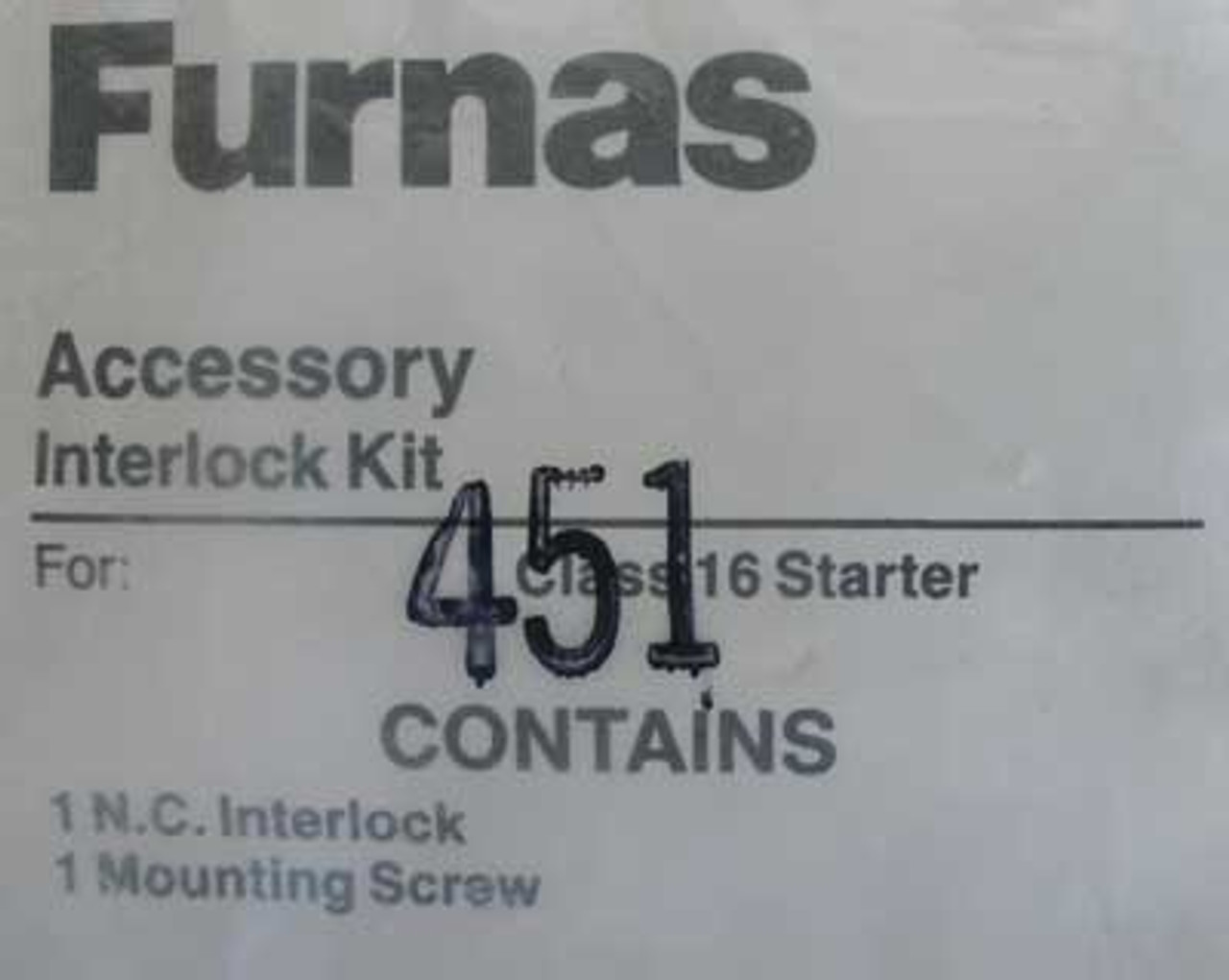 Siemens Furnas 49D22125002 Interlock Kit For Class 16 Starter