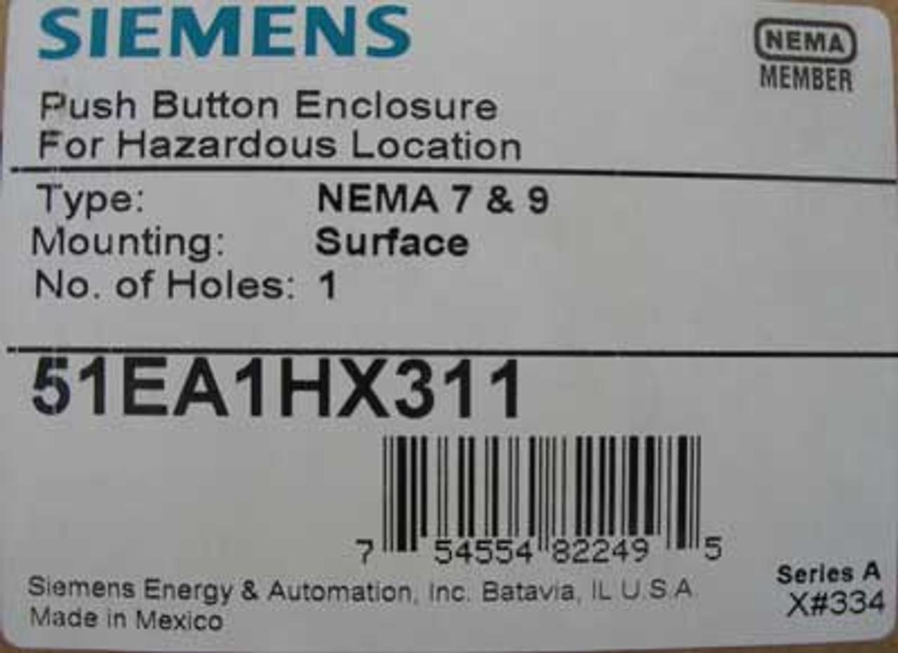 Siemens Furnas 51EA1HX311 Push Button Enclosure NEMA 7&9 1 Hole - New