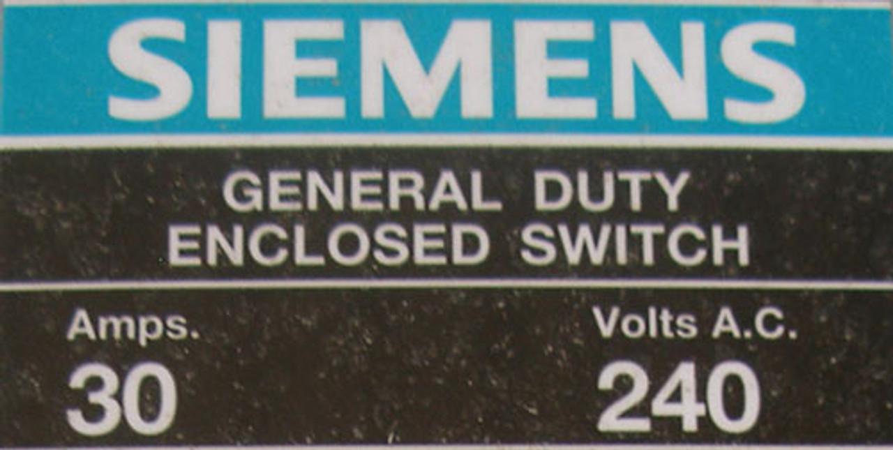 Siemens GF221NR Fusible General Duty Enclosed Switch 2P 30A 240V N3R