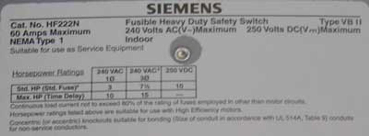 Siemens HF222N HD Fusible Safety Switch 60A 240VAC NEMA 1 - New