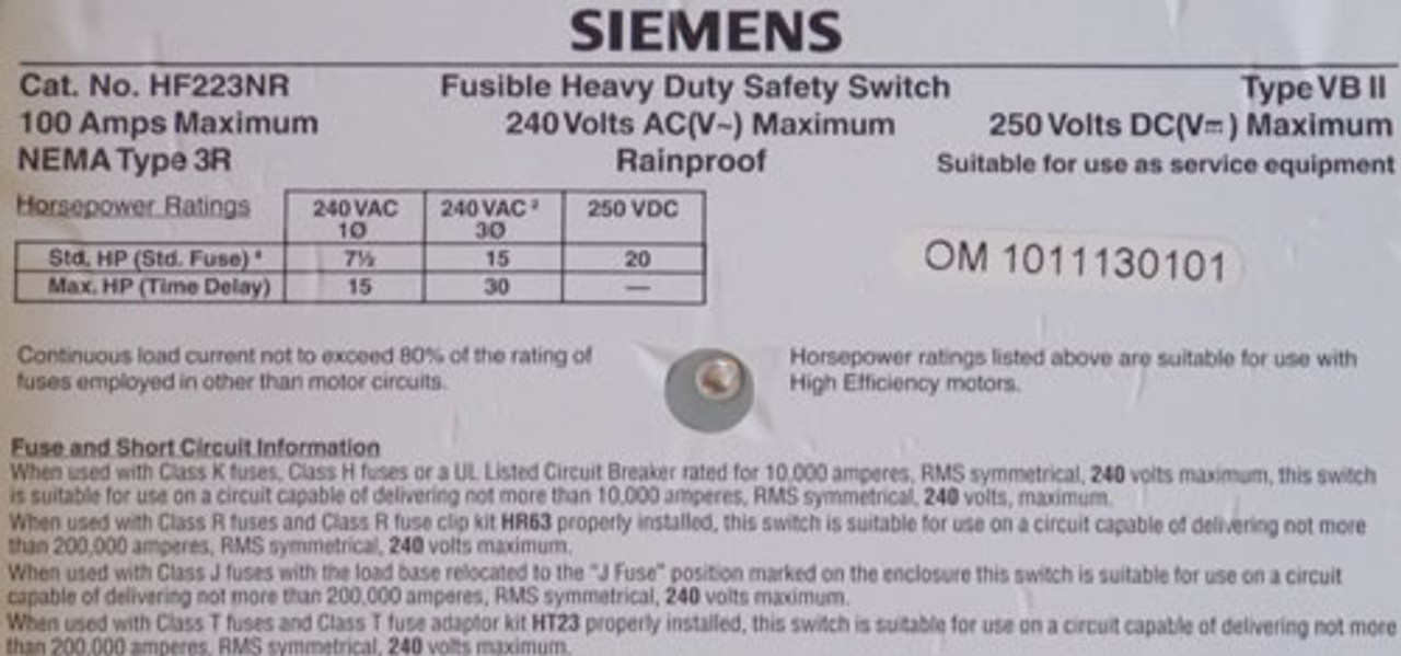 Siemens HF223NR HD Fusible Safety Switch 2P 100A 240VAC NEMA 3R - New