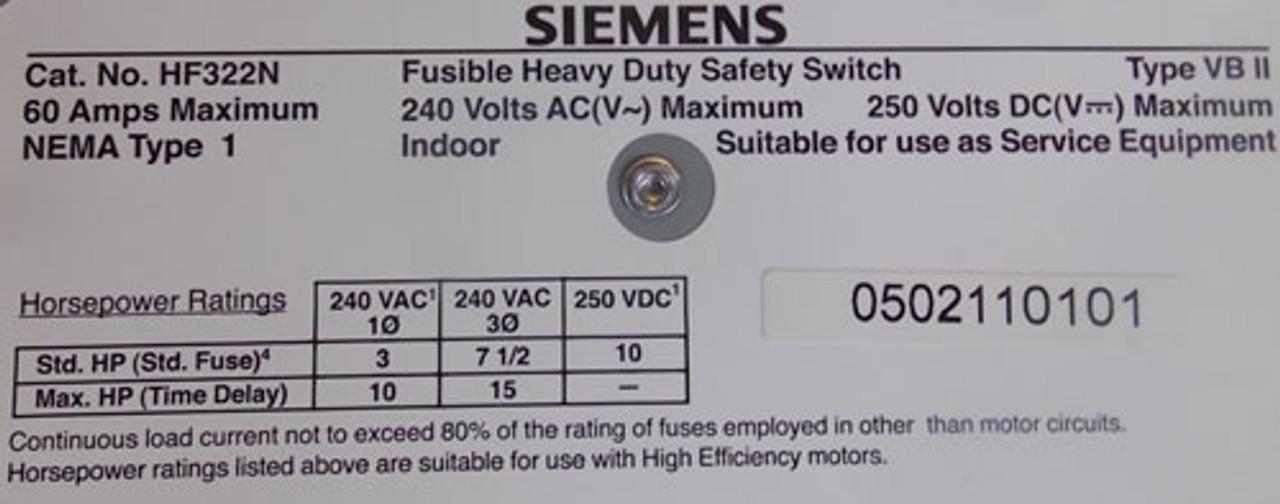 Siemens HF322N Fusible Heavy Duty Safety Switch 60A 240VAC 3P Nema 1 - New