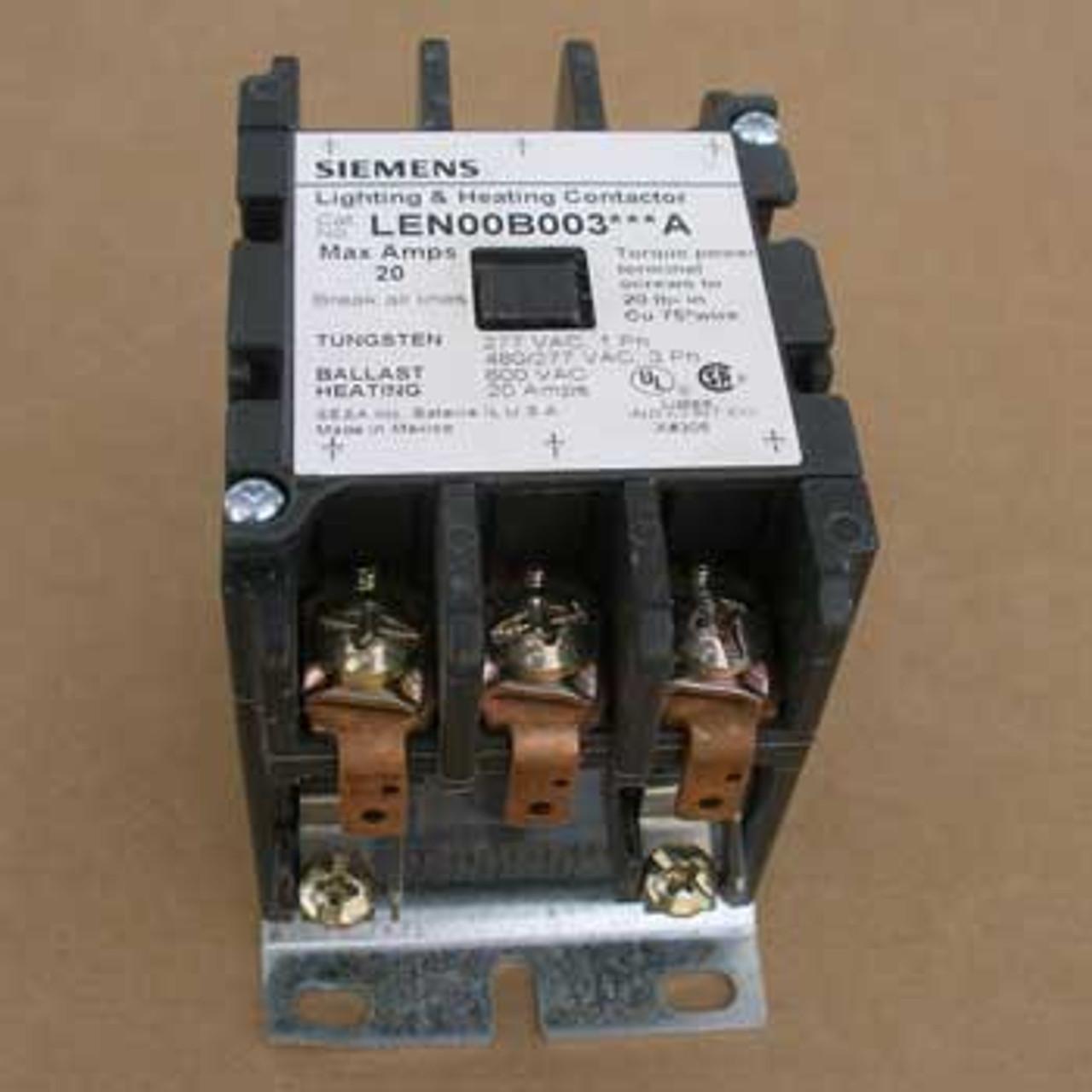 Siemens LEN00B003600A 20 Amp 600V 3 Pole Lighting Contactor Open