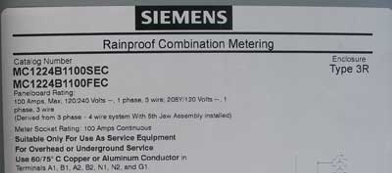 Siemens MC1224B1100FEC Rainproof Combo Meter 100A 240V 1PH Nema 3R - New