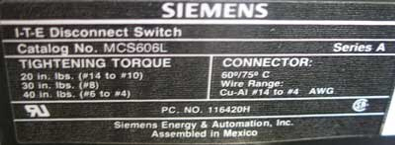 Siemens MCS606L MOD 95 MCC Bucket Size 1 w/3TF4422 Starter - Used