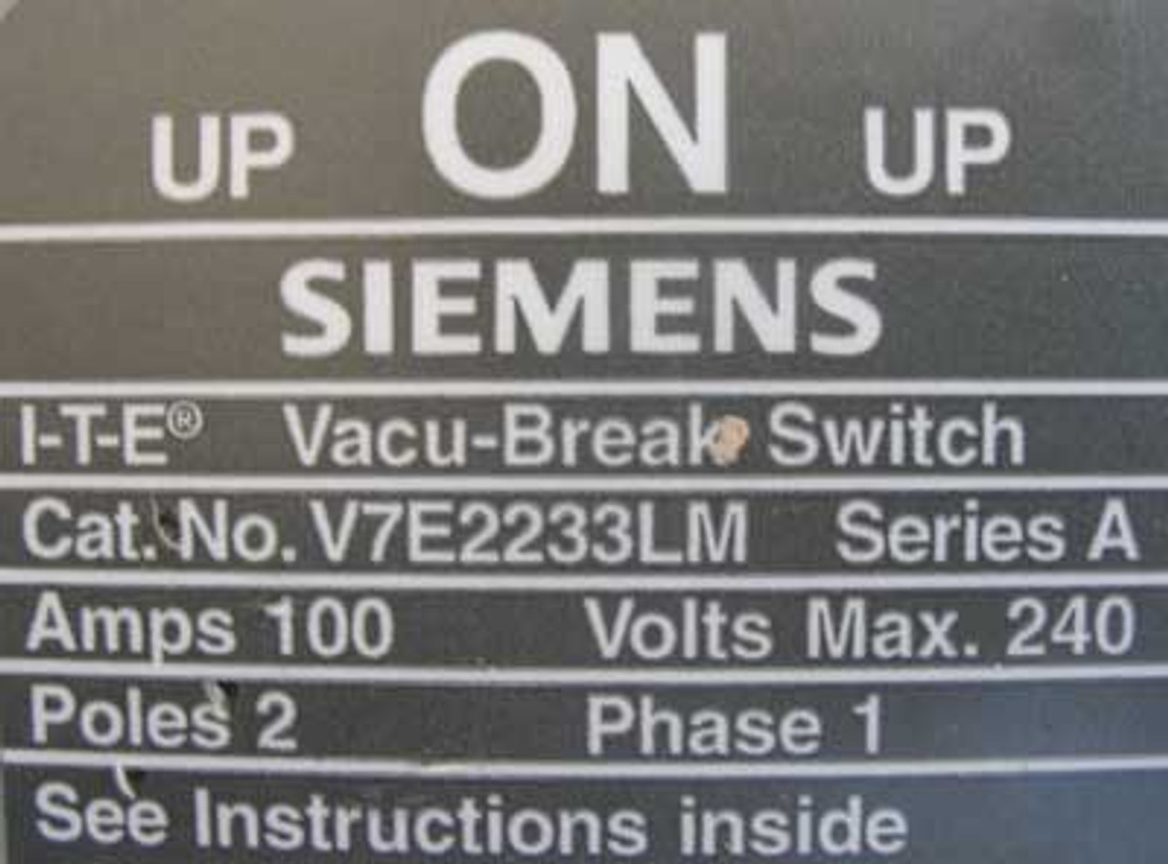Siemens V7E2233LM 100/100 Amp 240V 1 Phase Twin Panel Switch - Used