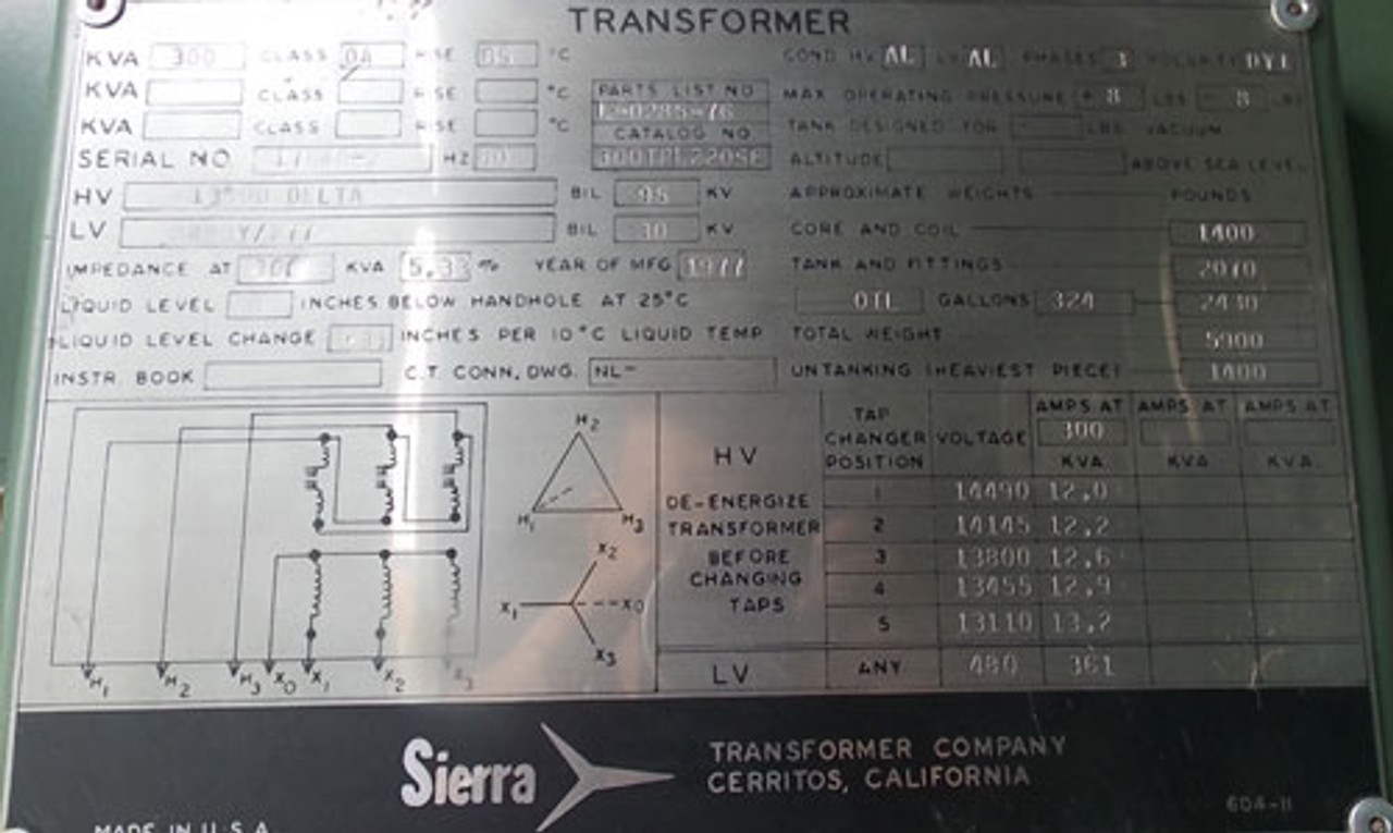 Sierra 17640-2 300KVA 13800V to 480Y/277V 3Ph Oil Filled Transformer N3R - Used - CALL FOR QUOTE