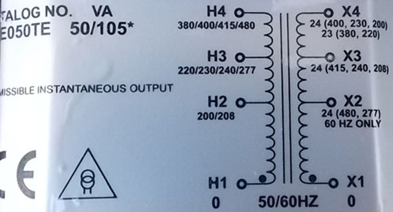 Sola Hevi-Duty E050TE .050 KVA Multi-Volt to 24V Industrial Control Transformer - New