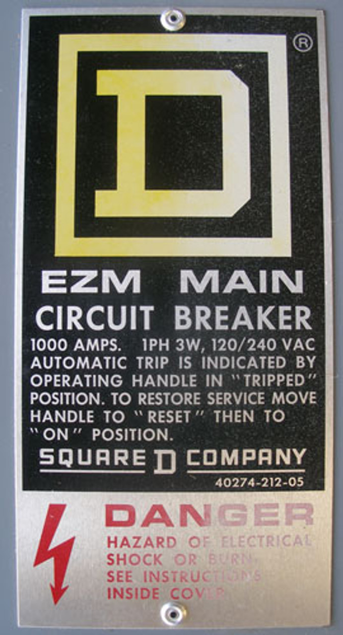 Sq D NHL261000 EZM Main Circuit Breaker 1000A 1Ph 3W 120/240V N3R Encl - New