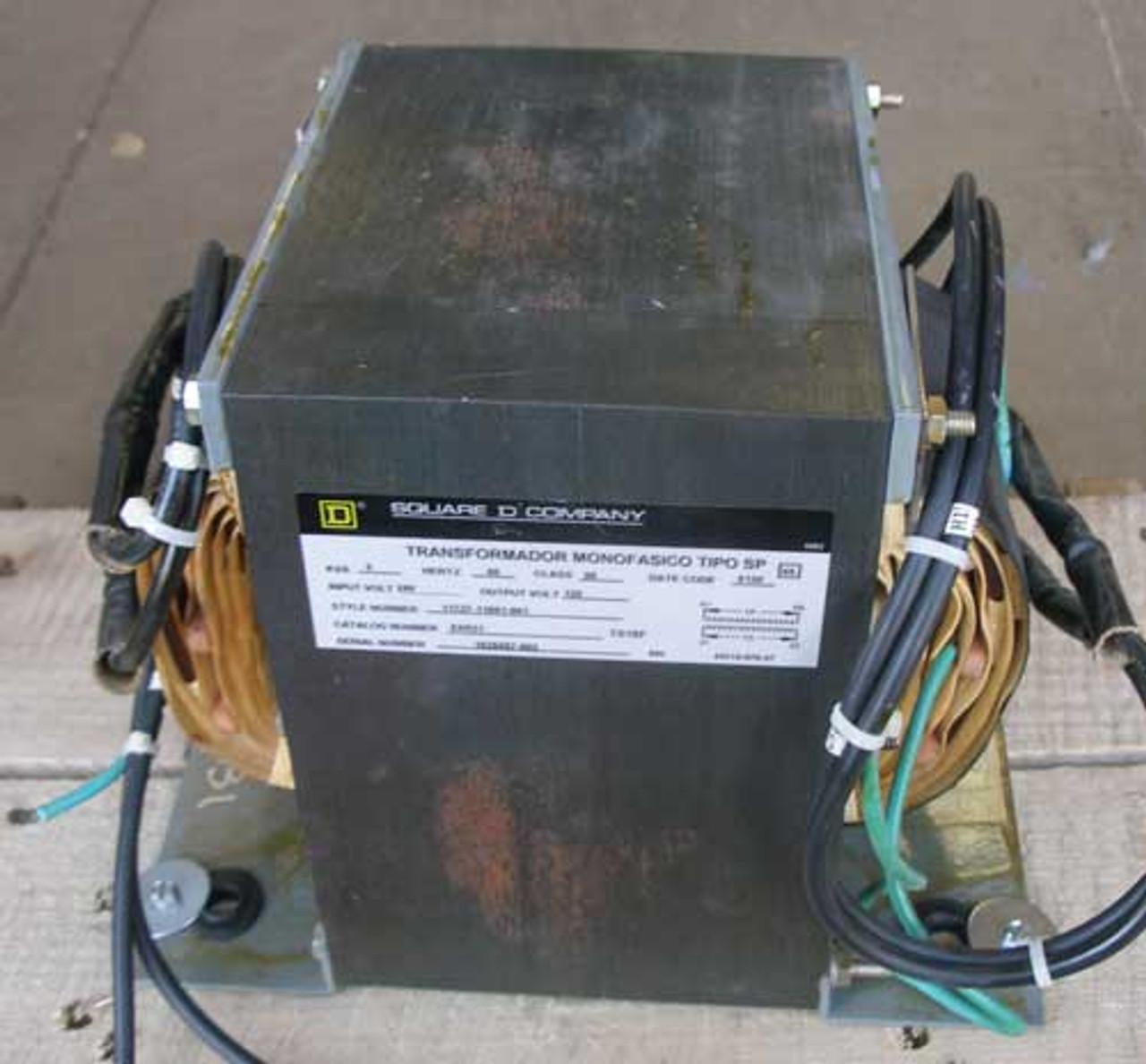 Square D 5XR31 5 KVA 240V to 120V 1 Phase Transformer - Used