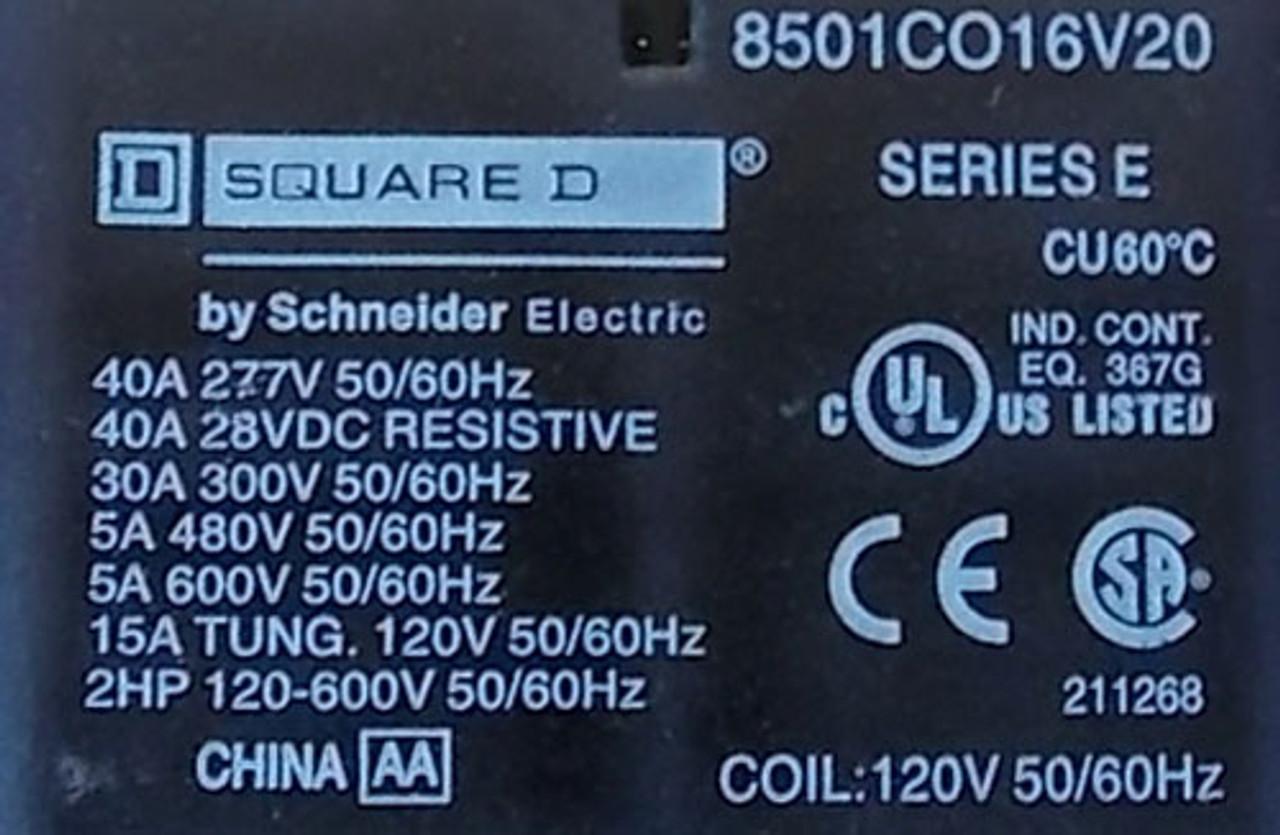 Square D 8501-CO16V20 40A 277V Genl Purpose Power Relay 120V Coil - Used