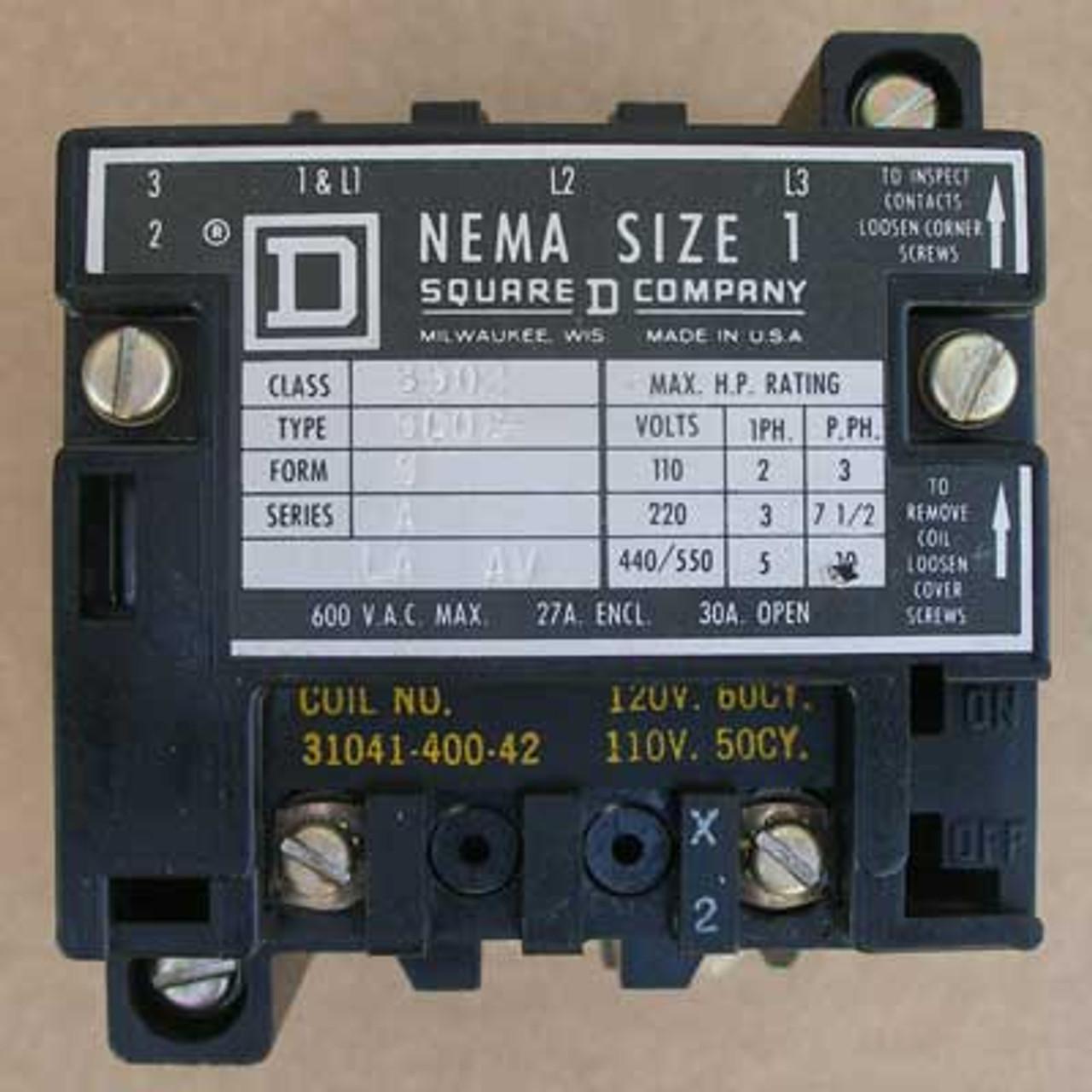 Details about  /Square D 8502SCO1S Contactor With 120 Volt Coil-NIB