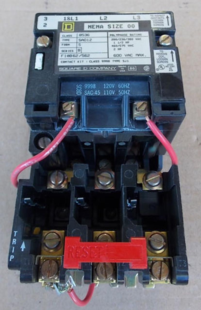Square D 8536 SA012 Size 00 Magnetic Starter 3P 600VAC 120V Coil - Used