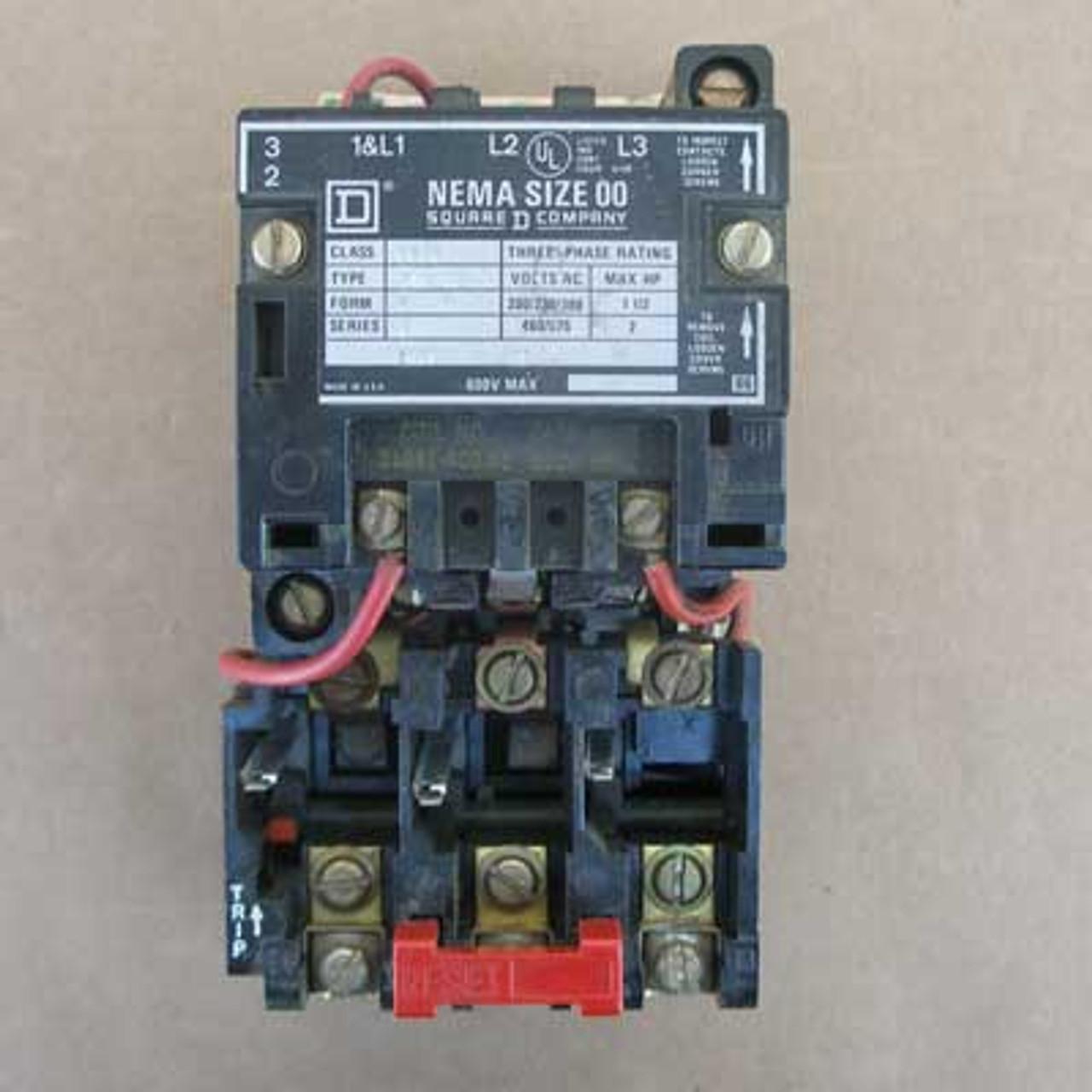 Square D 8536-SAG12 Size 00 Starter 3 Phase 120V Coil Open - Used