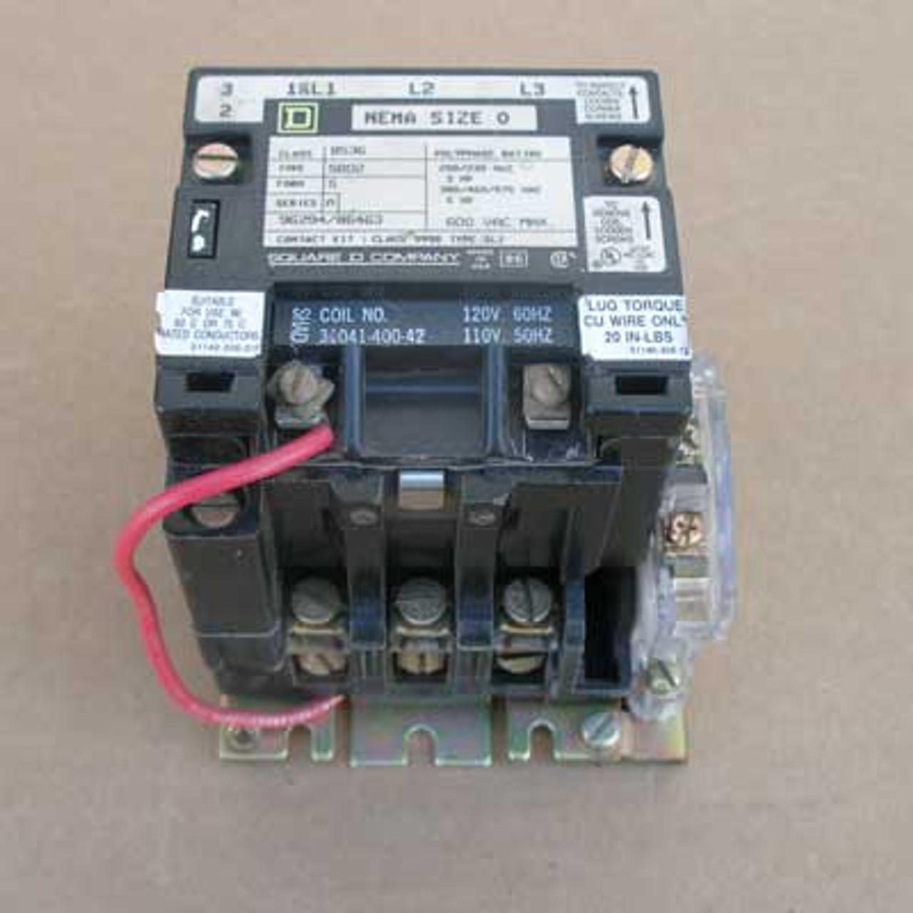 Square D 8536-SB02 Size 0 Contactor 3 Pole 120 Volt Coil Open - Used