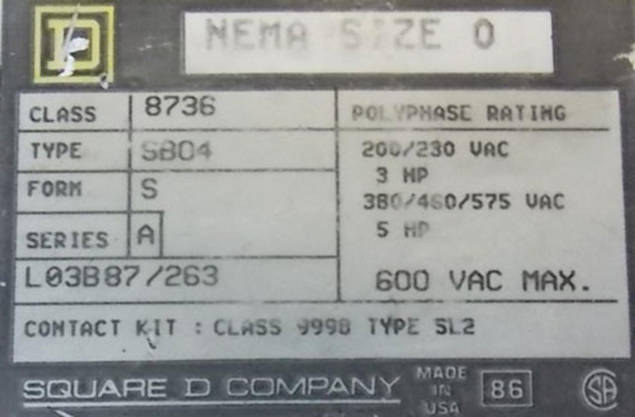 Square D 8736 SB04 Size 0 Reversing Magnetic Starter 600V 3P 120V Coil