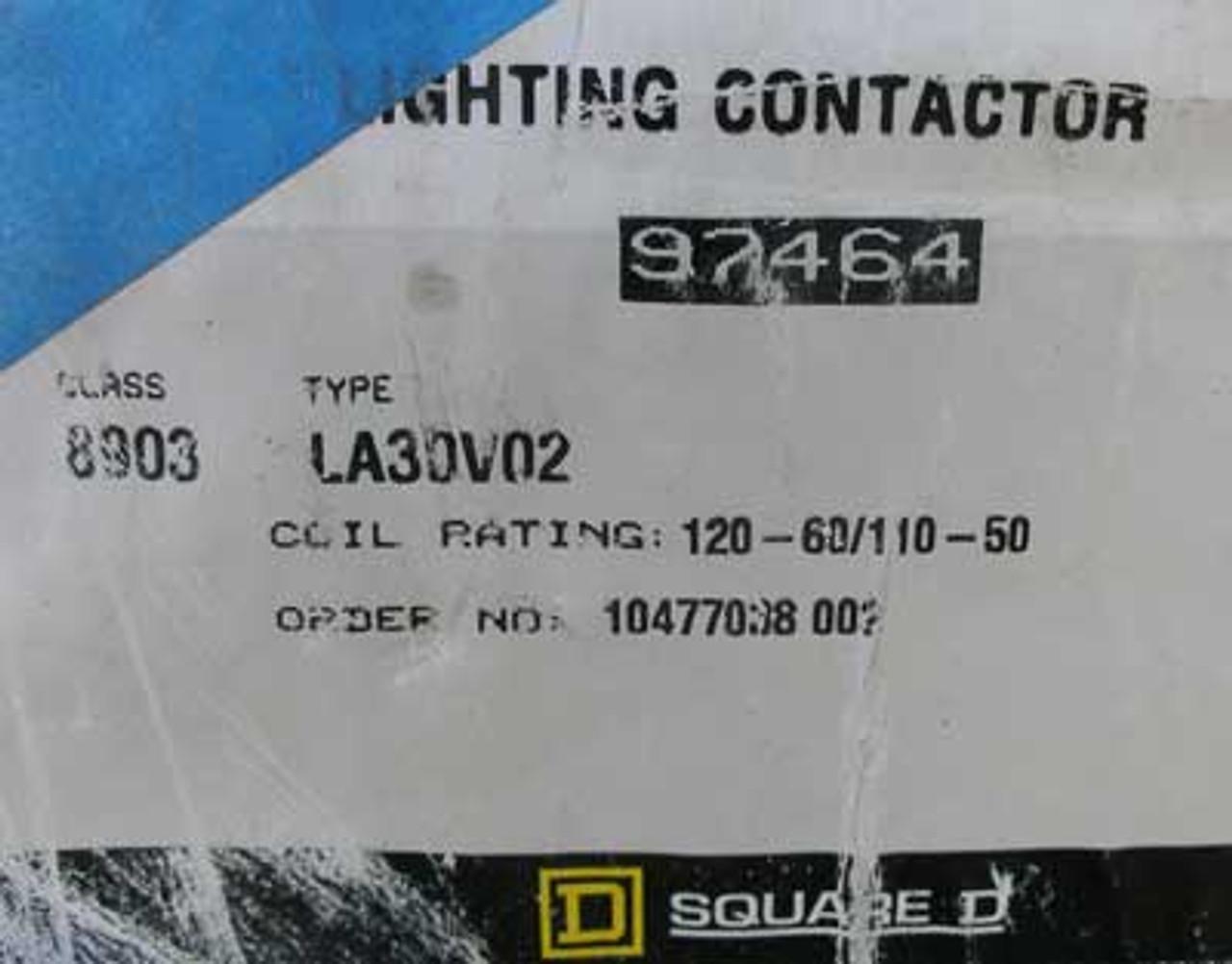 Square D 8903 LA30V02 Lighting Contactor 3 Pole 30 Amp Nema 12/3R - New