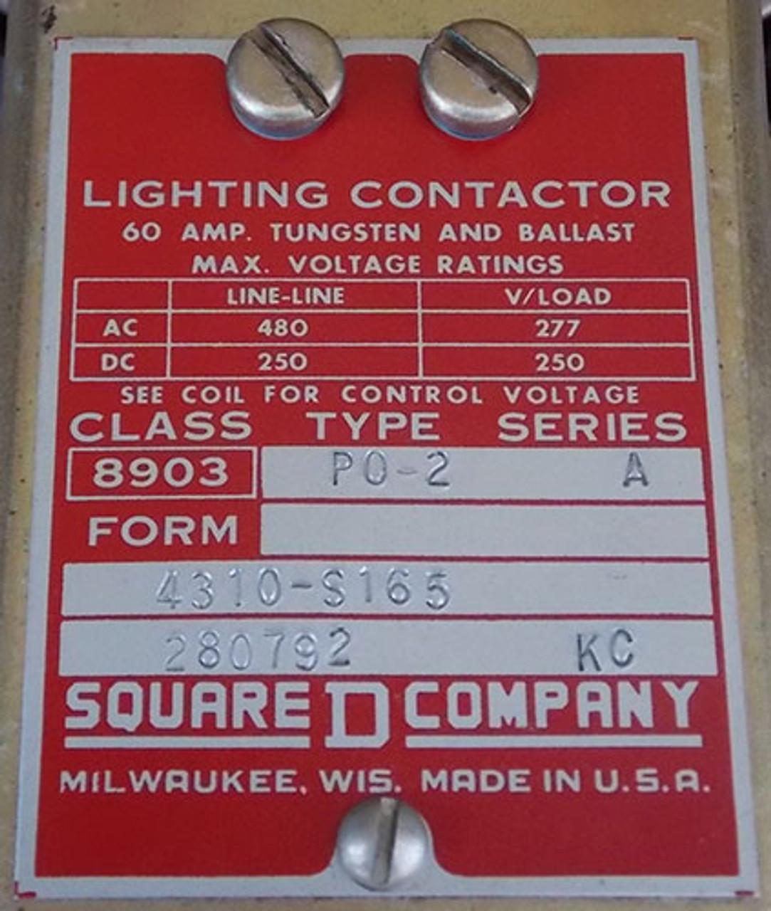Square D 8903 PO-2 3P 60 Amp 480V 120V Coil Lighting Contactor - Used