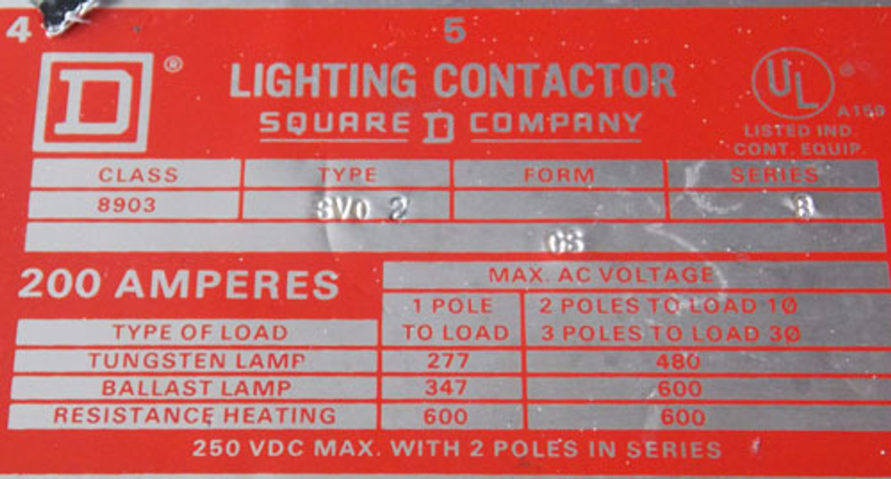 Used Square D 8903 SV02 Lighting Contactor 200 Amp 3 Pole 120V Coil