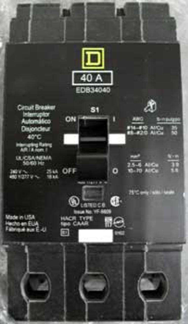 Square D EDB34100 3 Pole 100 Amp 480 VAC Circuit Breaker - Used
