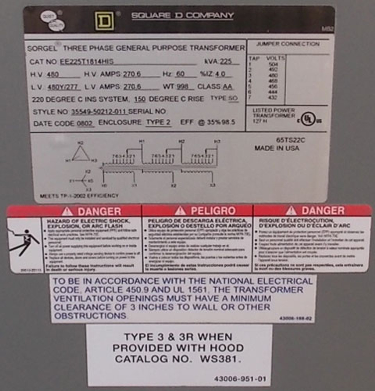 Square D EE225T1814HIS 225 KVA 480 to 480Y/277V 3PH Transformer N1 - Reconditioned