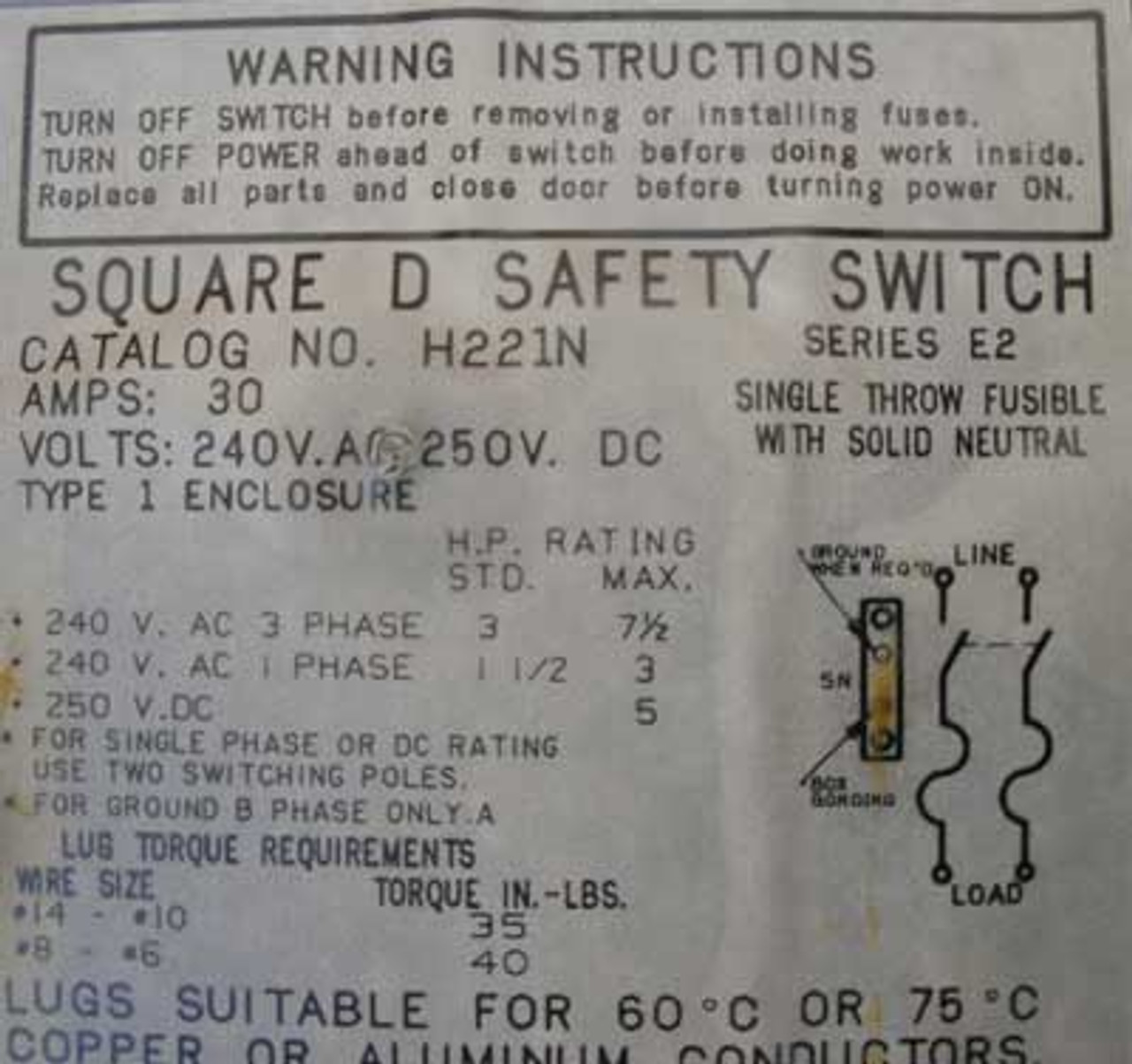 Square D H221N HD Fusible Safety Switch 30 Amp 240VAC 1 Phase Nema 1